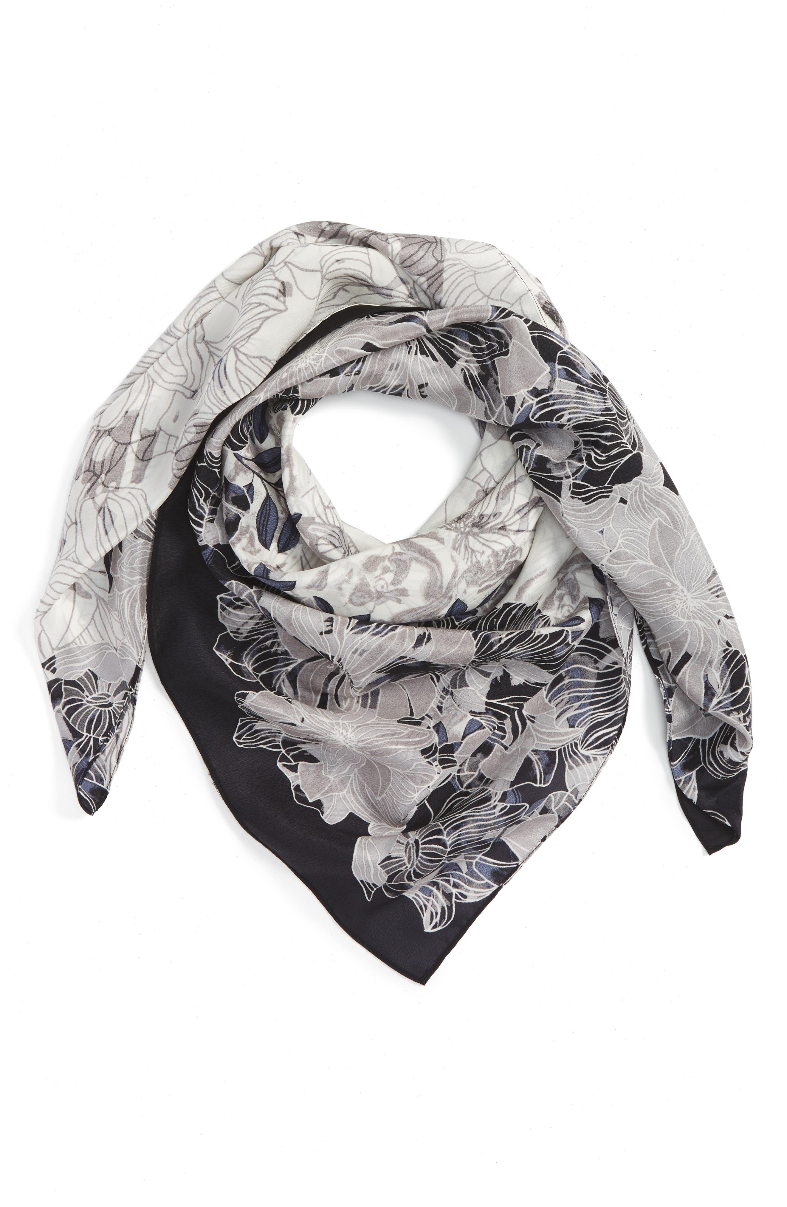Main Image - Halogen® Floral Square Silk Scarf