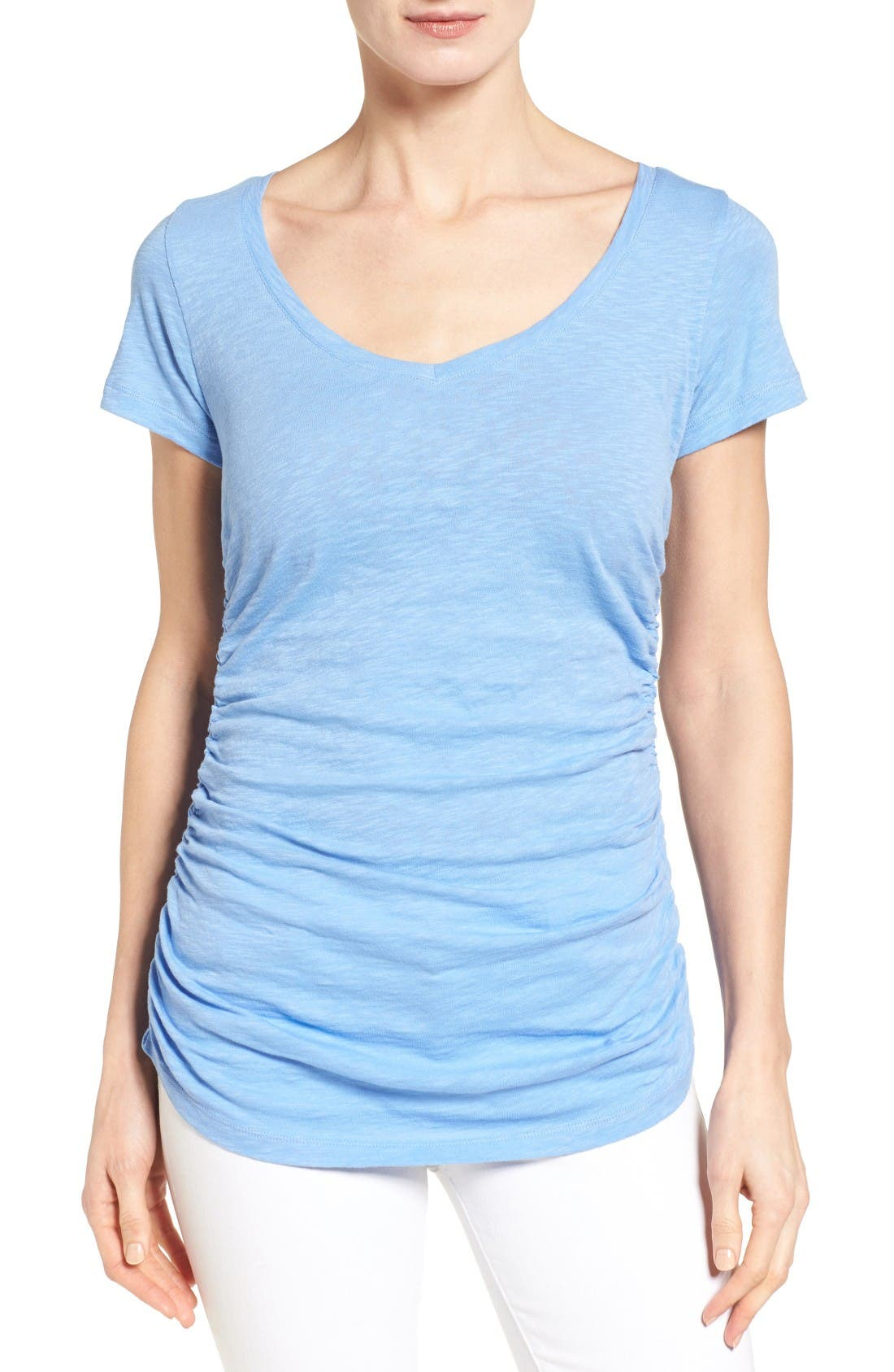 Caslon® Shirred V-Neck Tee (Regular & Petite)