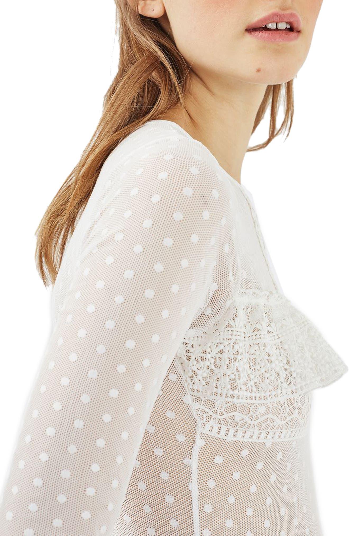 Alternate Image 5  - Topshop Polka Dot Lace Bodysuit