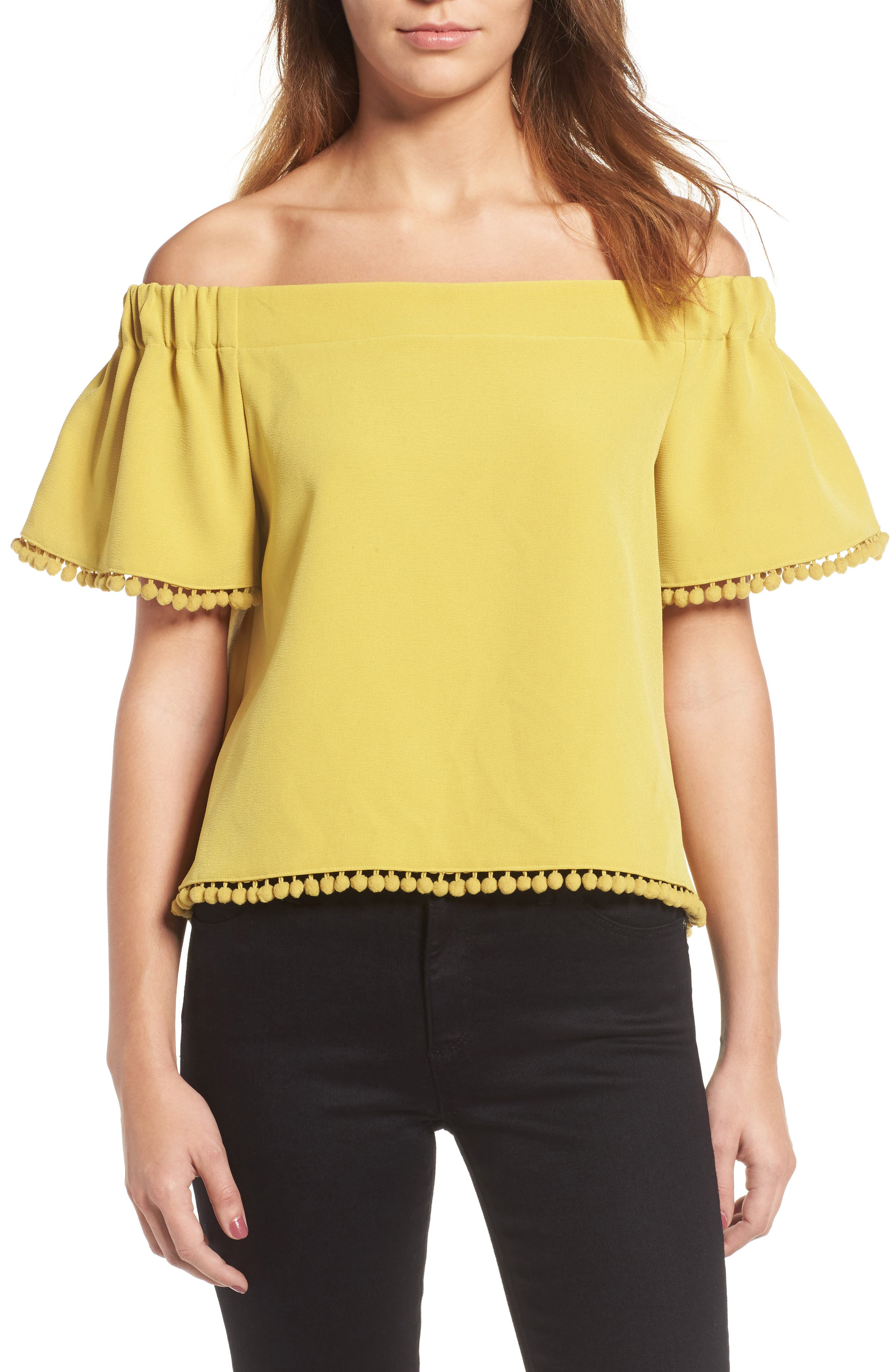 Main Image - Willow & Clay Pompom Off the Shoulder Top