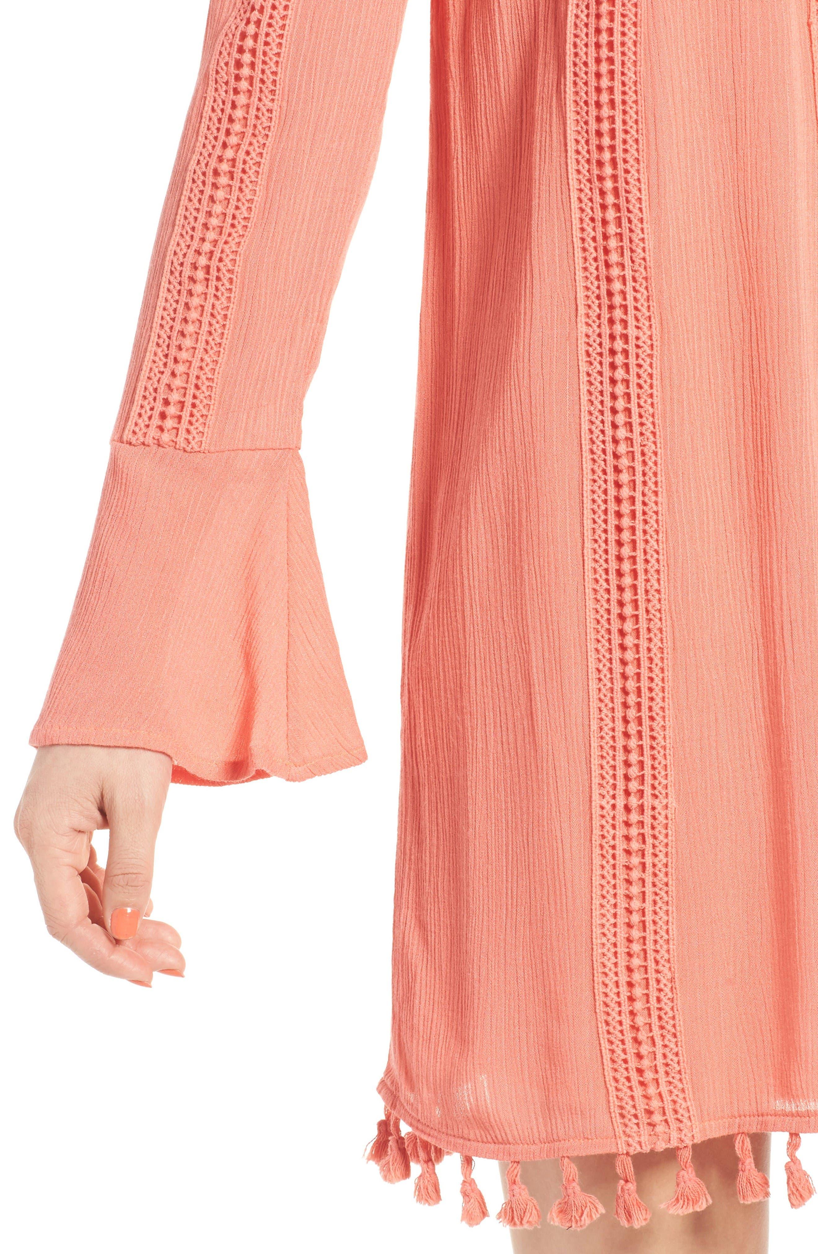 Alternate Image 4  - Dee Elly Tassel Trim Off the Shoulder Dress