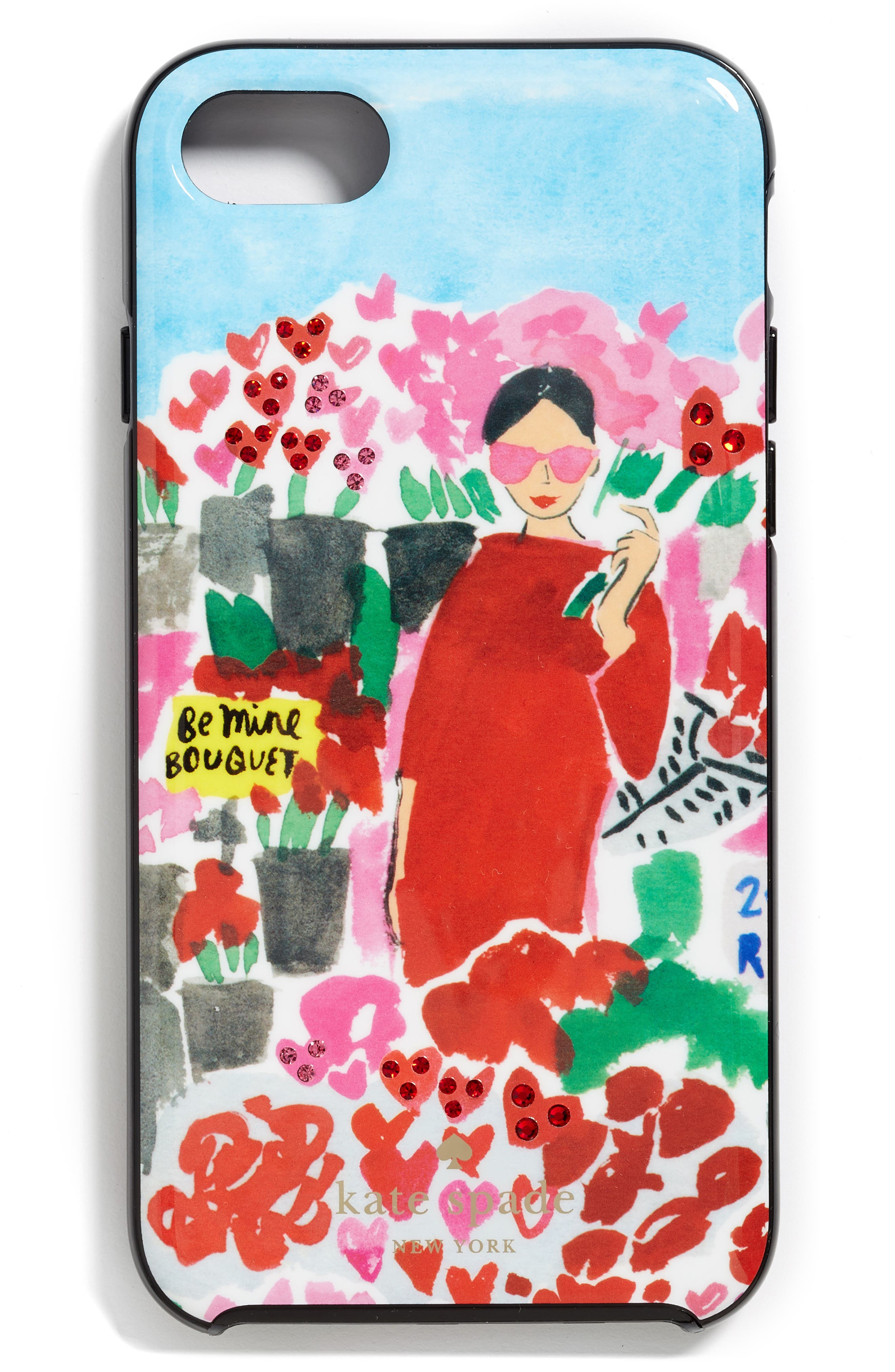 Alternate Image 1 Selected - kate spade new york crystal floral bella iPhone 7 & 7 Plus case