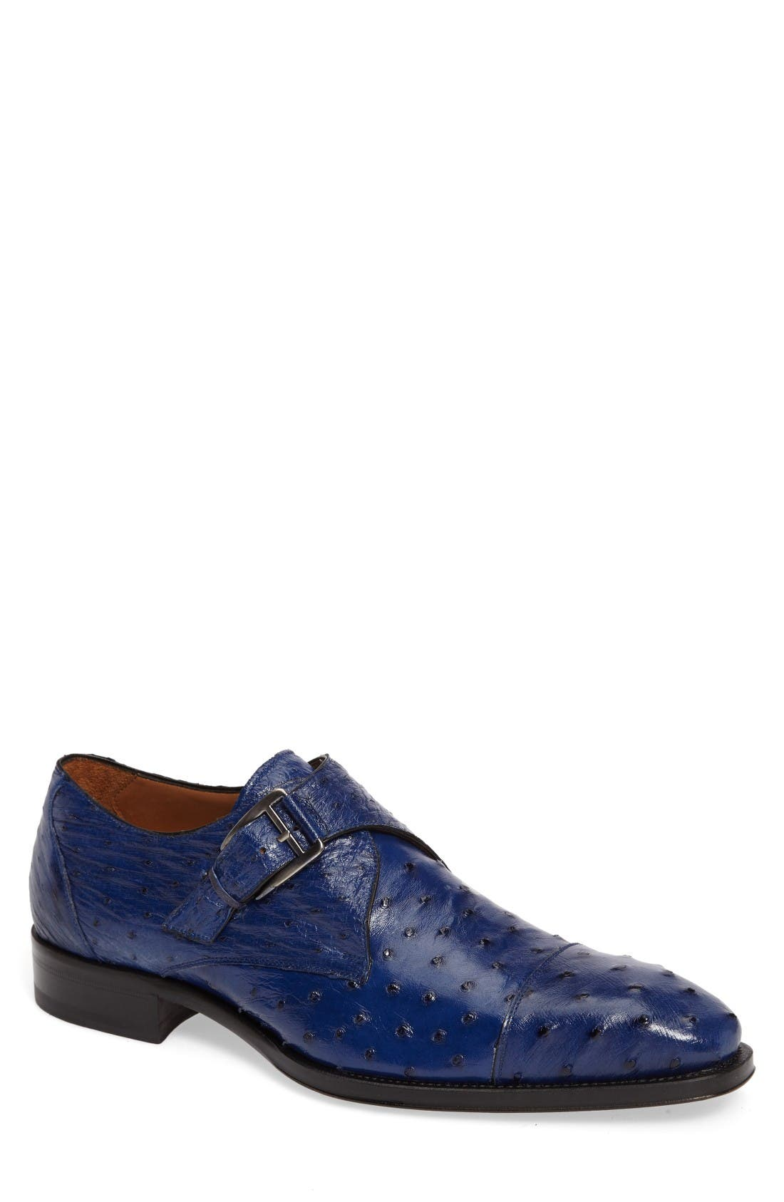 Mezlan Cohen Ostrich Cap Toe Monk Shoe (Men)