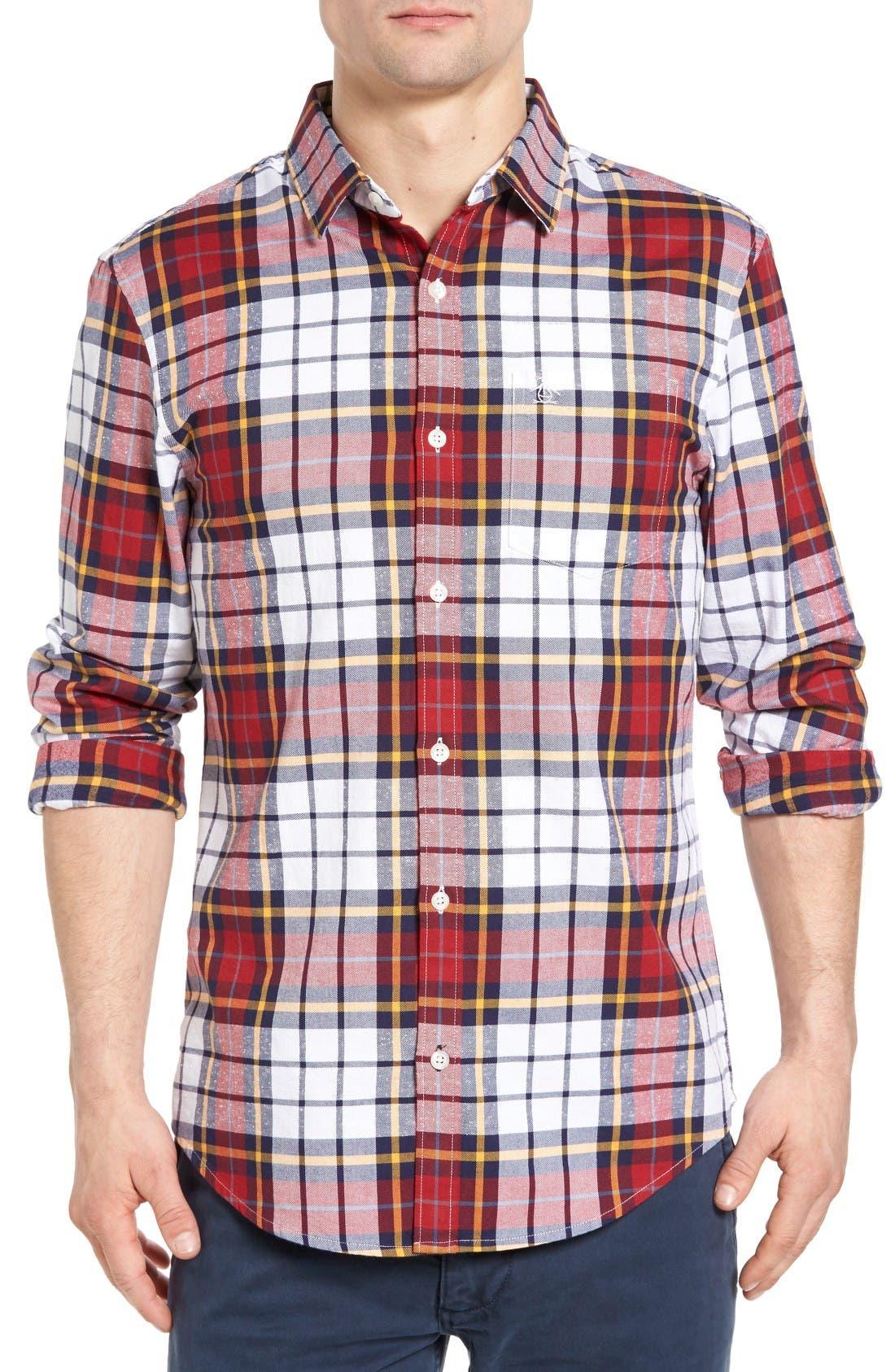 ORIGINAL PENGUIN Extra Trim Fit Oxford Plaid Shirt