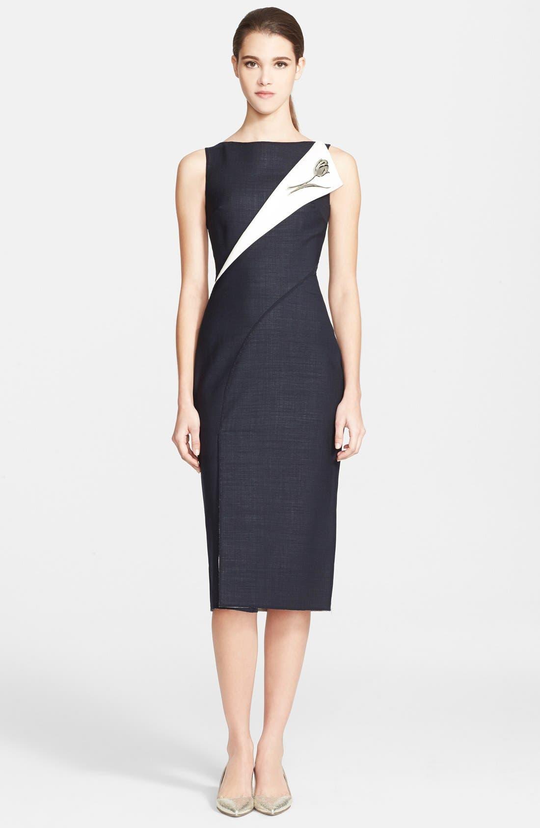 Alternate Image 1 Selected - Oscar de la Renta Folded Double-Face Wool Blend Pencil Dress