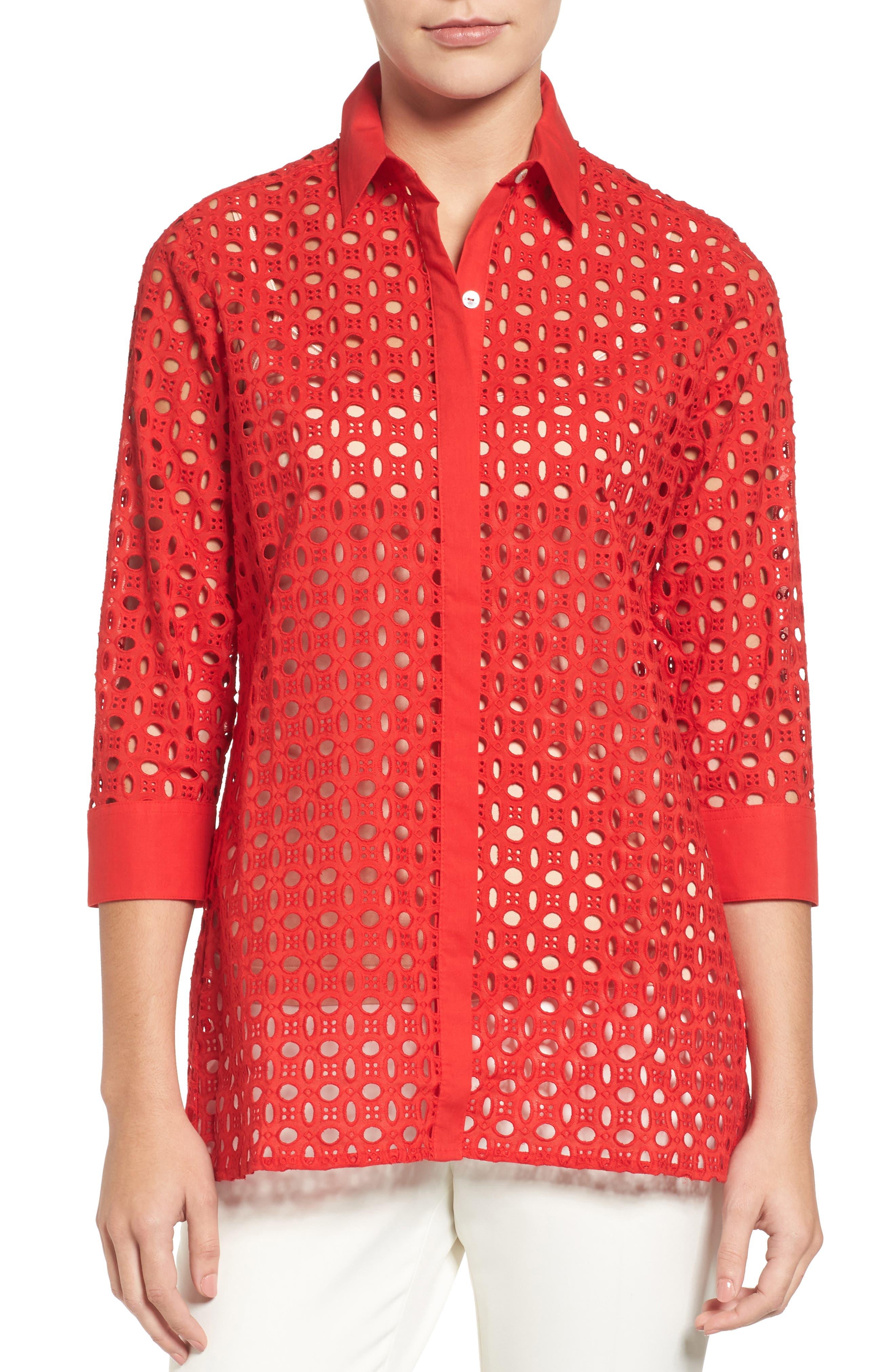 Foxcroft Gigi Eyelet Cotton Tunic