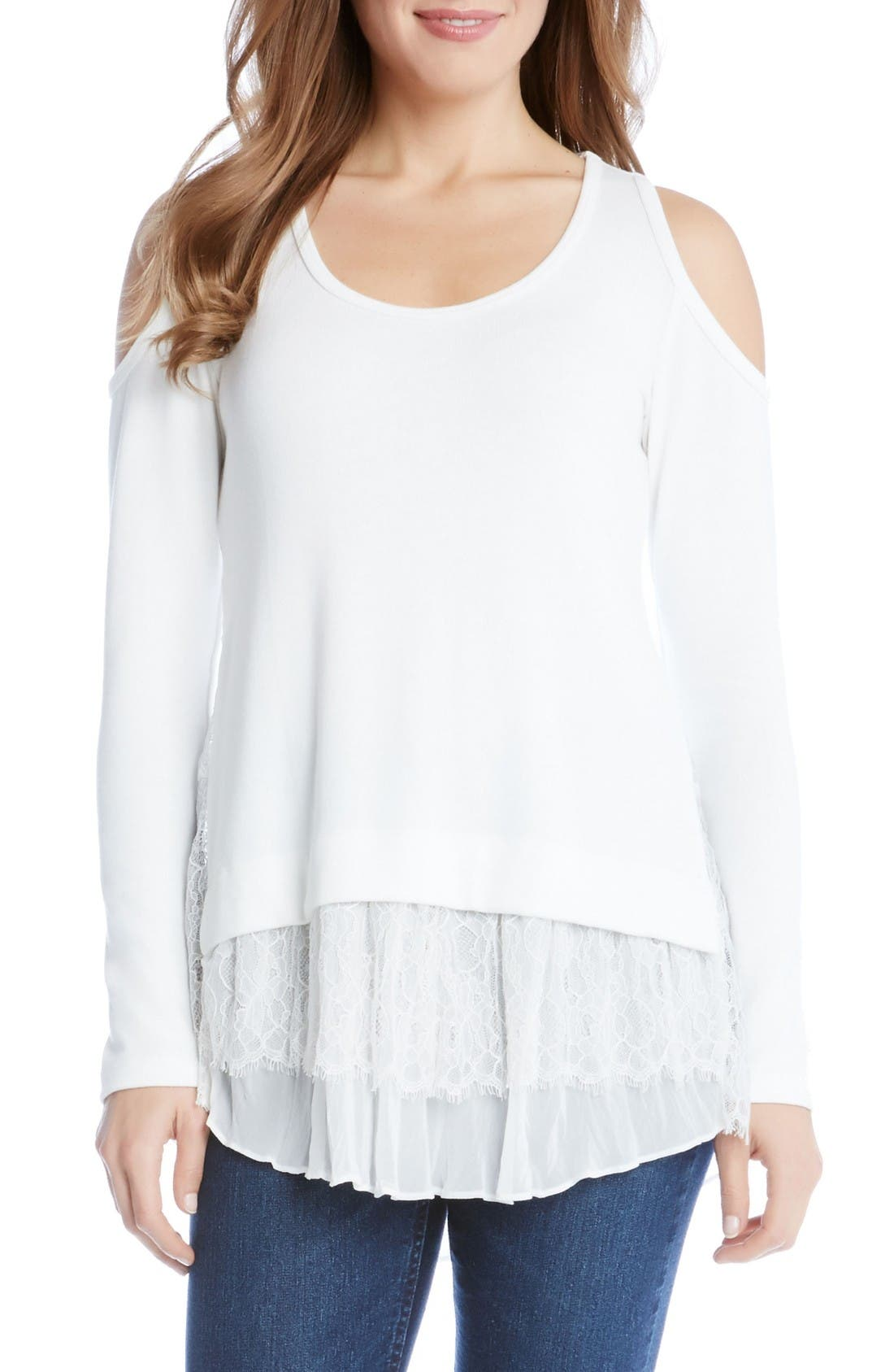 KAREN KANE Tiered Hem Cold Shoulder Sweater