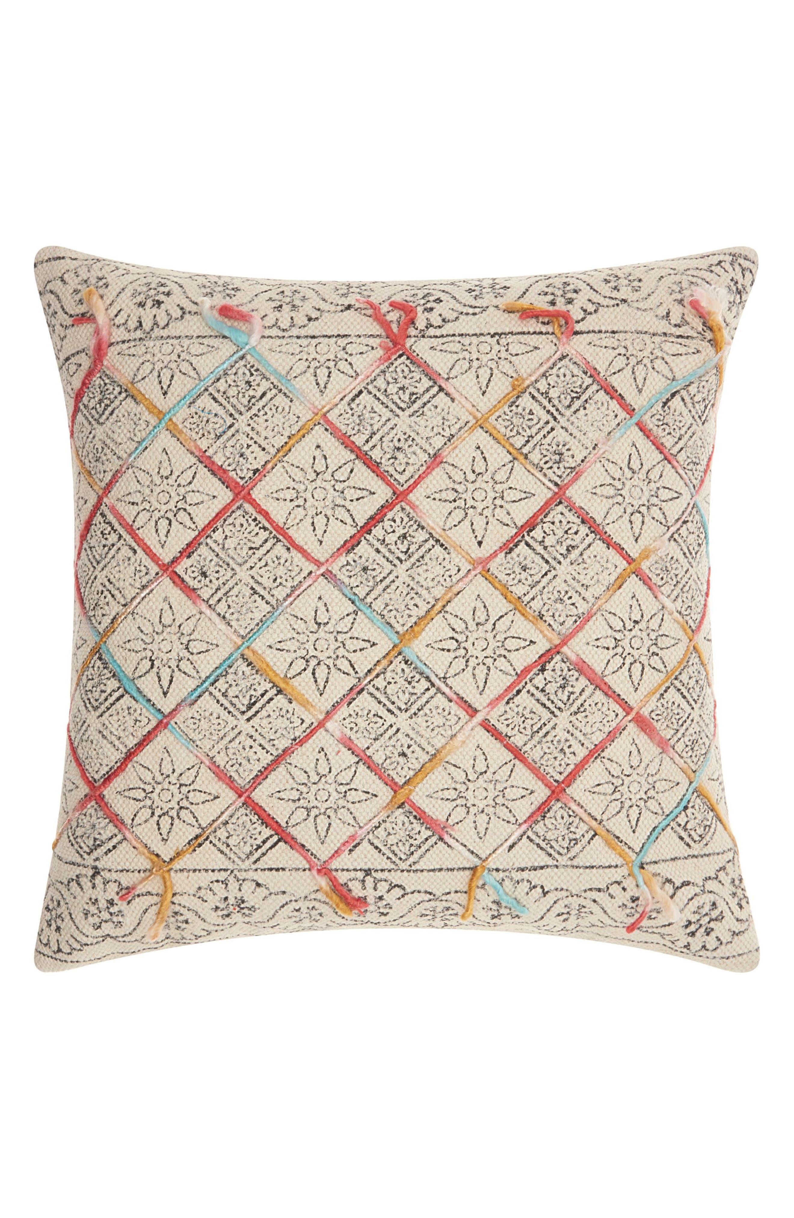 Mina Victory Stonewash Diamond Accent Pillow