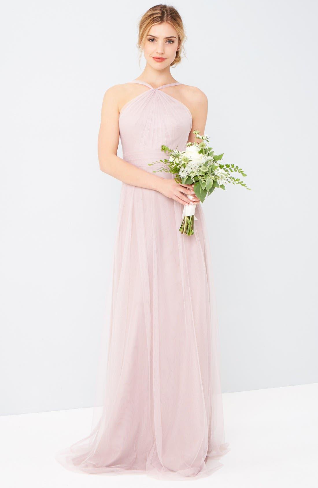 Alternate Image 2  - Monique Lhuillier Bridesmaids Tulle Halter Style Gown