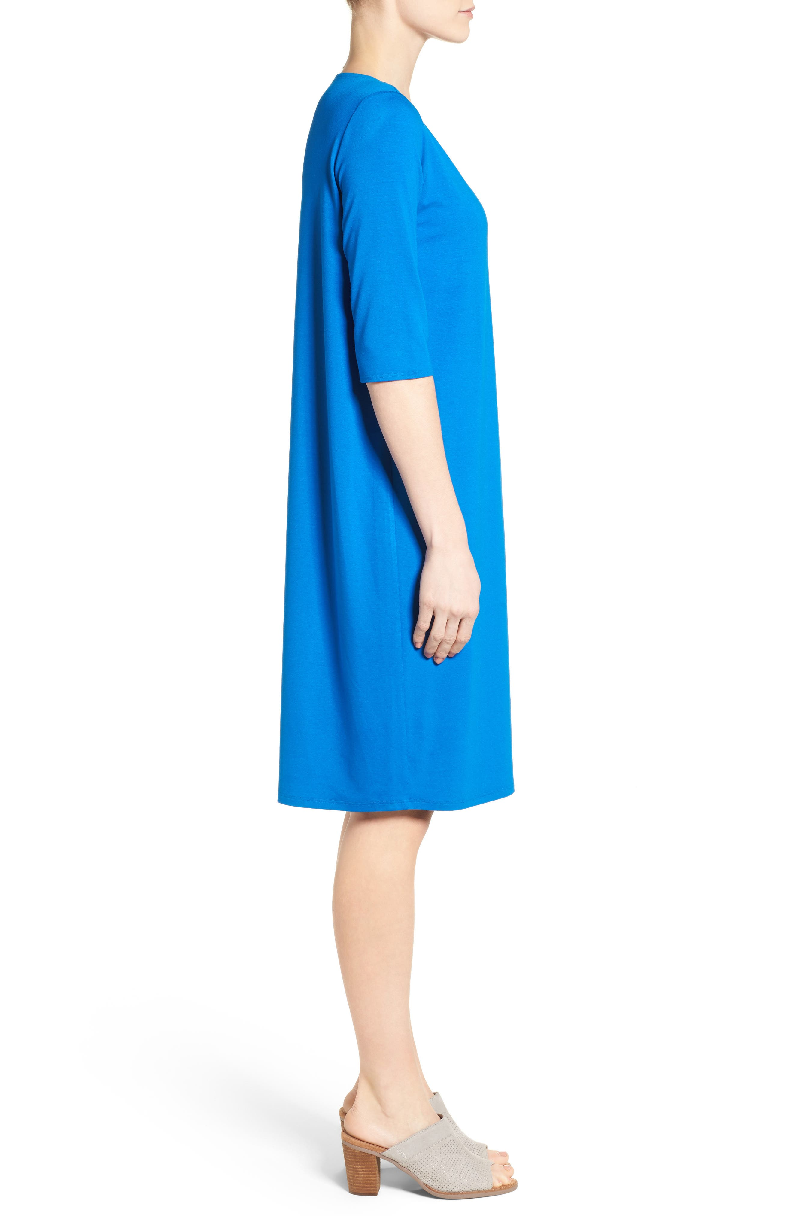 Alternate Image 3  - Eileen Fisher V-Neck Jersey Shift Dress (Regular & Petite)