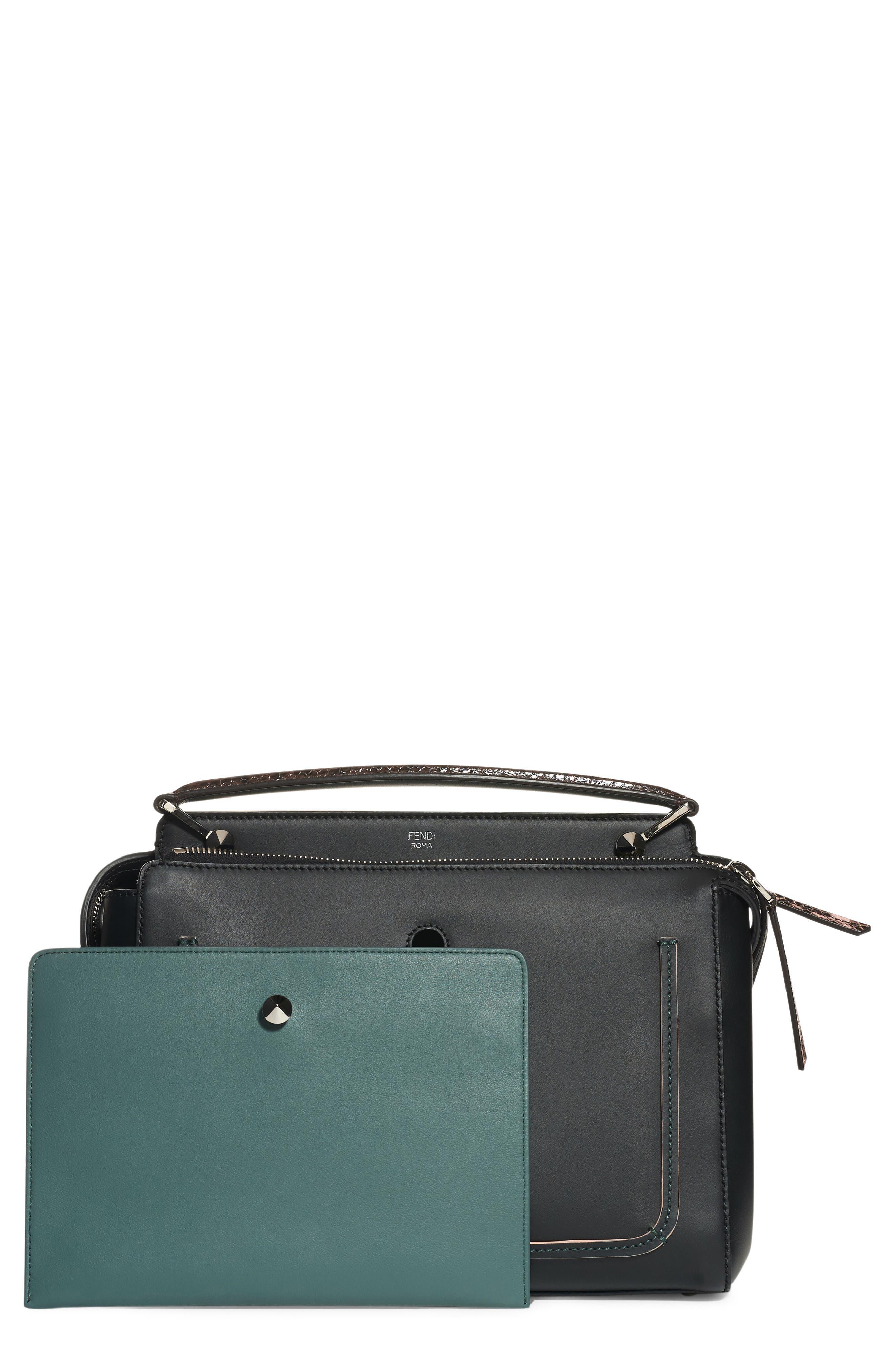 Fendi 'DOTCOM' Leather & Genuine Snakeskin Satchel