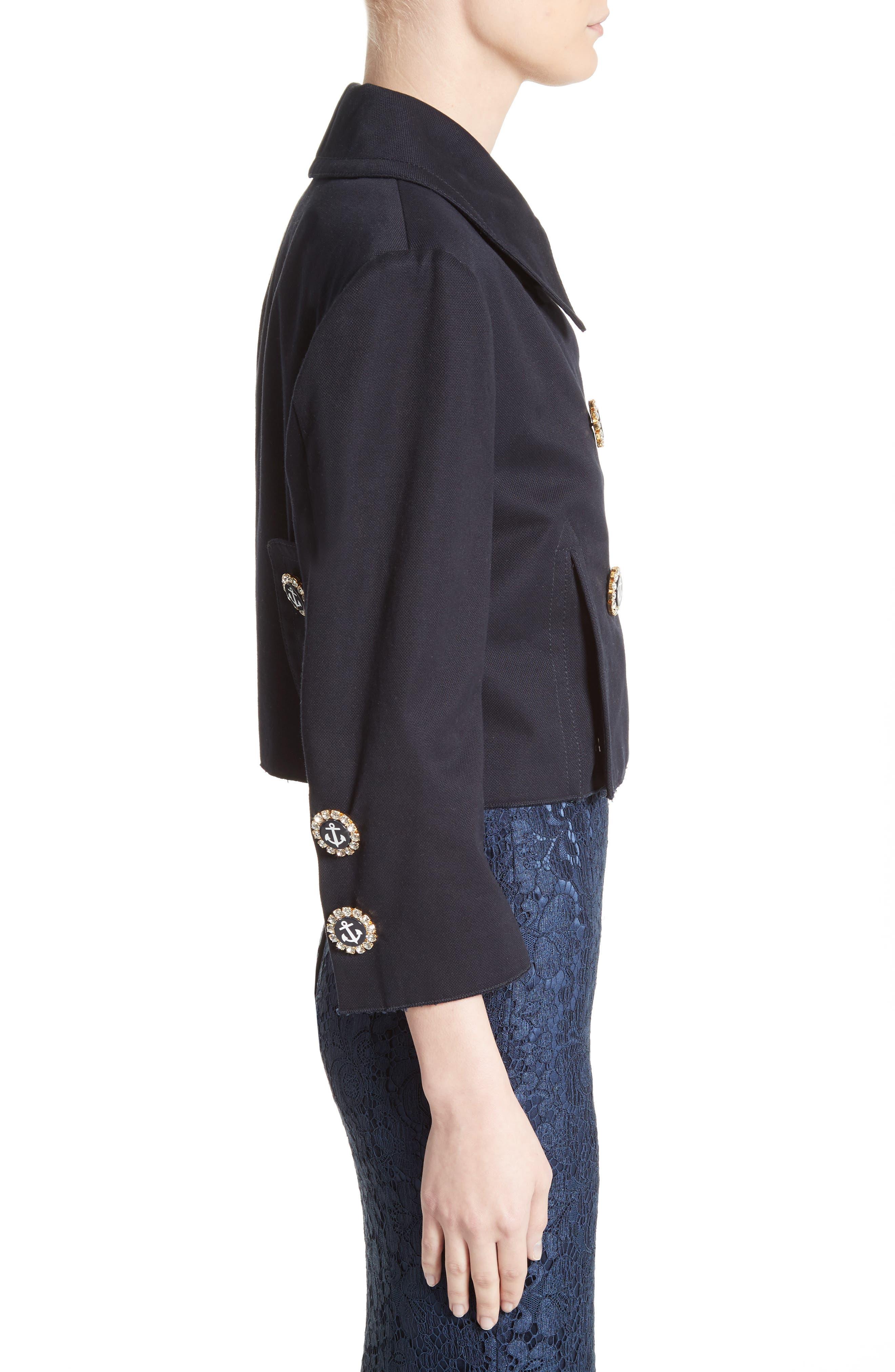 Alternate Image 4  - Dolce&Gabbana Piqué Cotton Crop Jacket