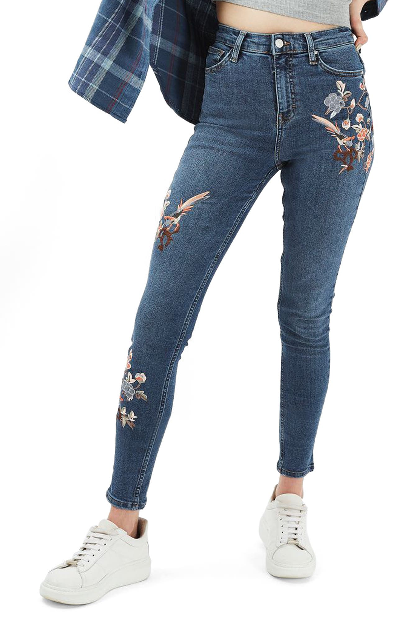 Main Image - Topshop Jamie Embroidered Skinny Jeans (Tall)