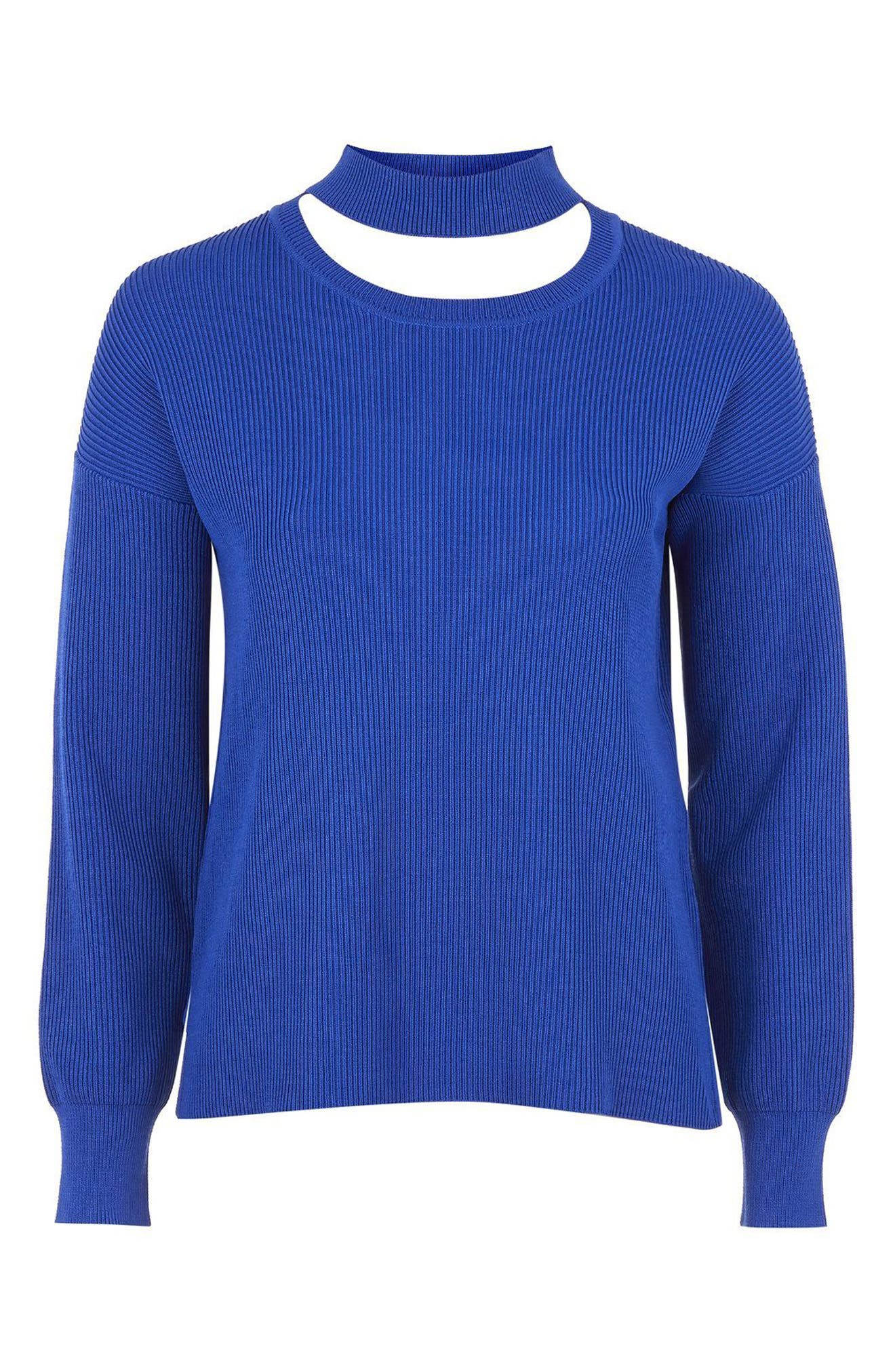Alternate Image 4  - Topshop Ribbed Choker Sweater