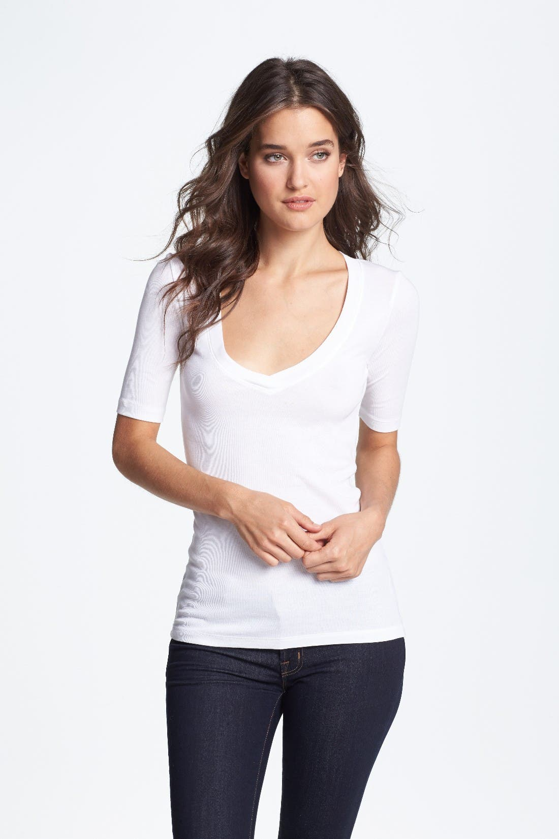 Alternate Image 1 Selected - Splendid Deep V Half Sleeve Tee