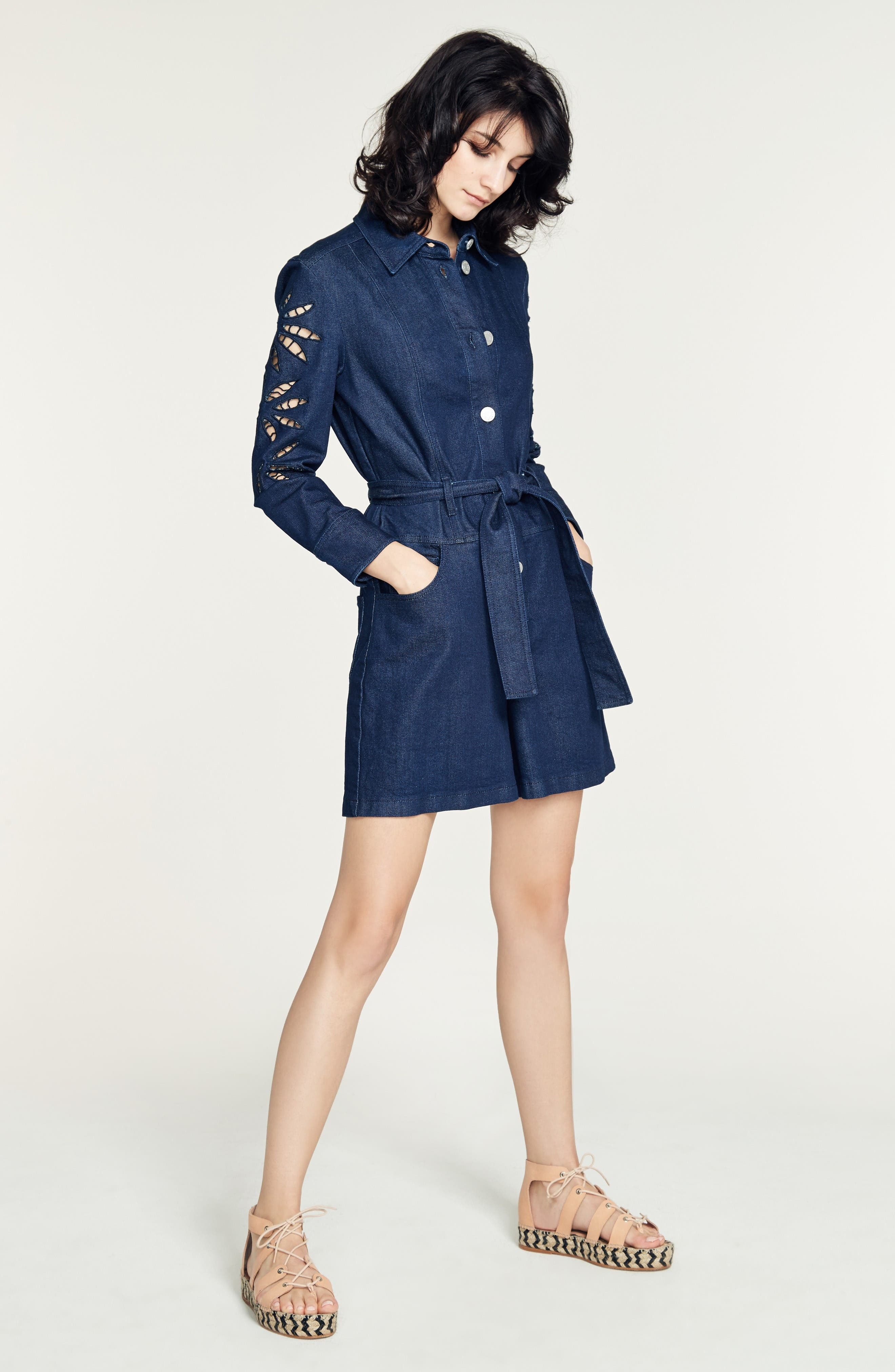 Alternate Image 2  - See by Chloé Embroidered Denim Romper (Nordstrom Exclusive)