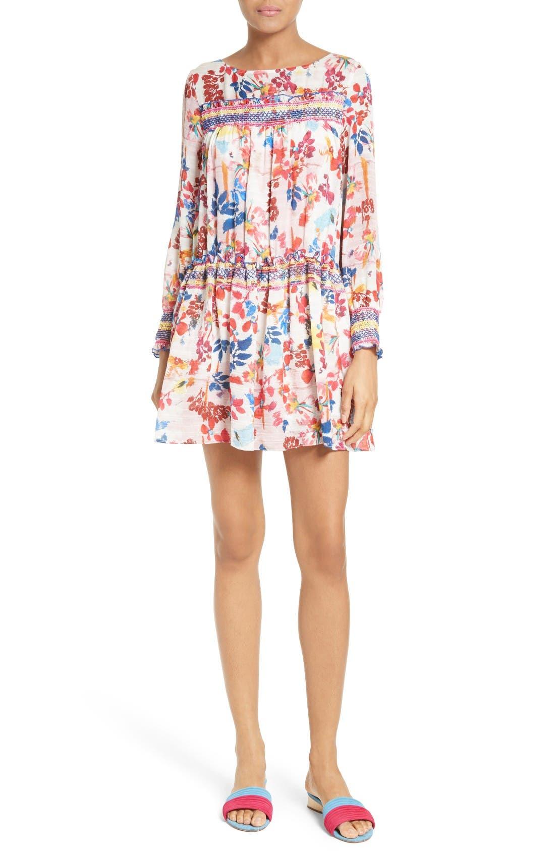 TANYA TAYLOR Hailey Floral Burst Print Silk Dress