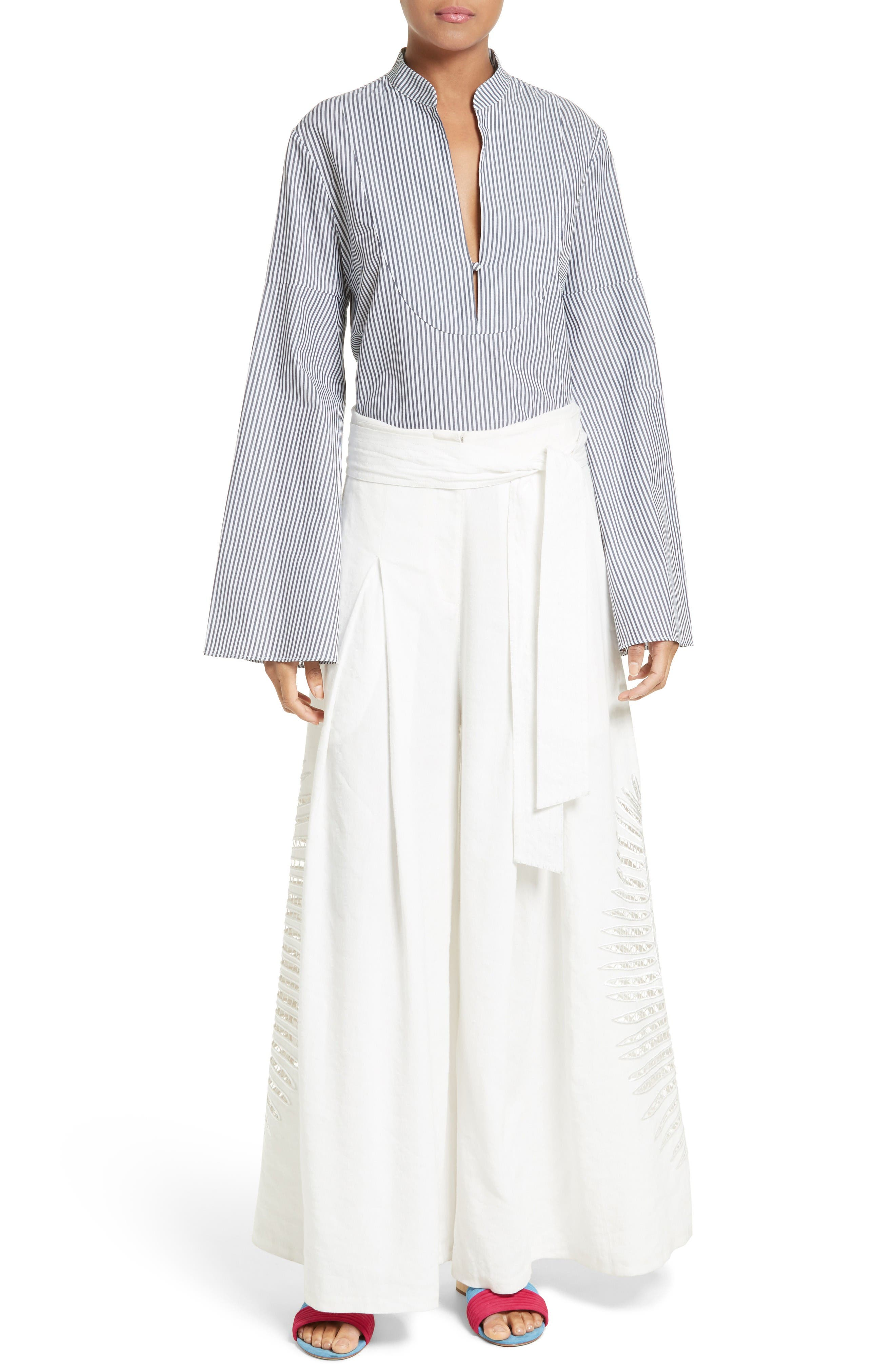 Alternate Image 6  - Tanya Taylor Klara Stripe Bell Sleeve Top