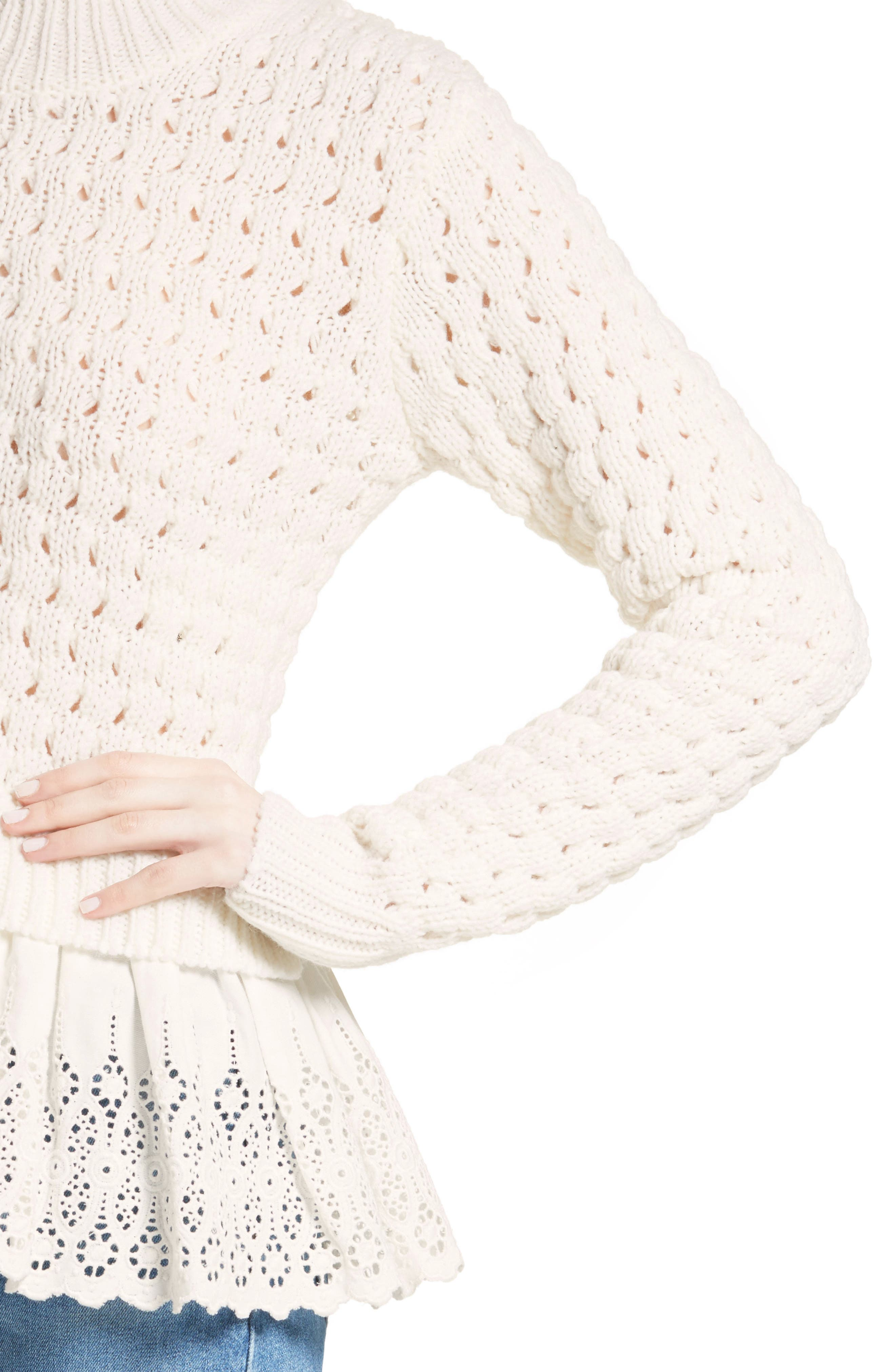 Alternate Image 5  - Rebecca Taylor Eyelet Mock Neck Sweater
