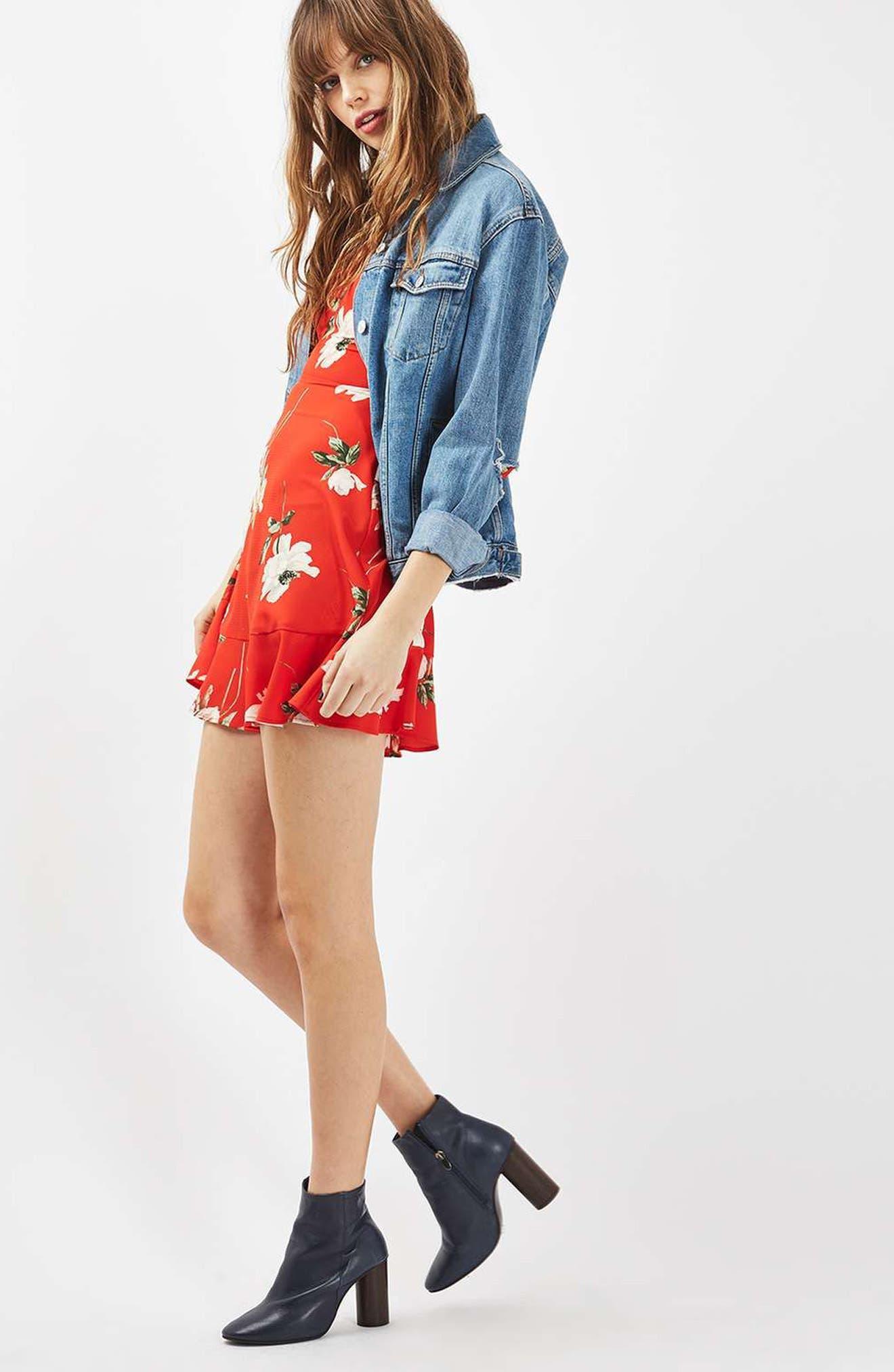 Alternate Image 2  - Topshop Ruffle Floral Tea Dress (Regular & Petite)