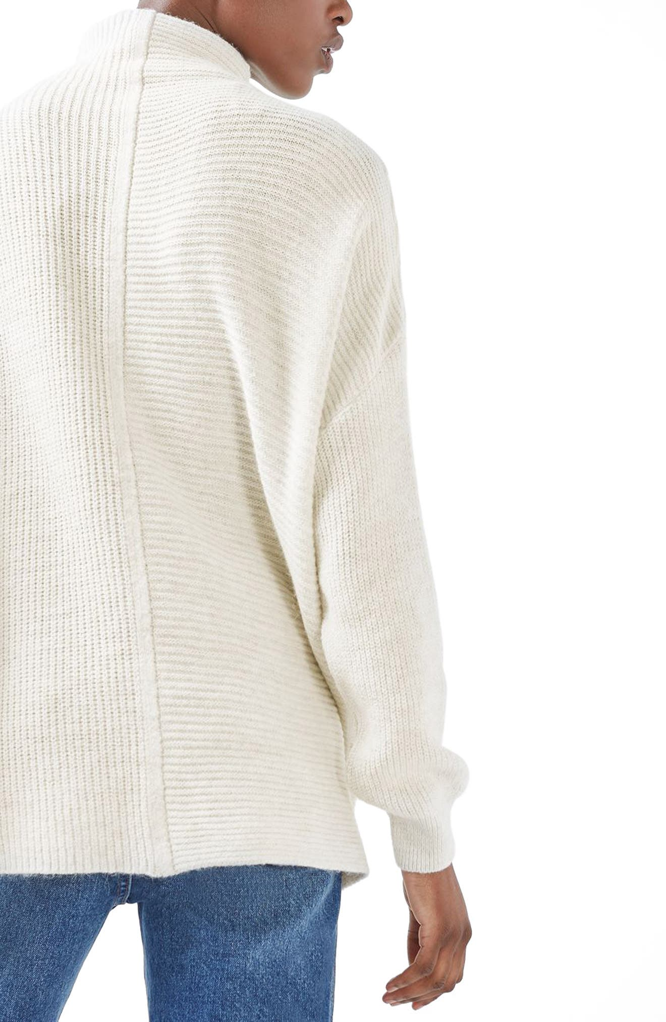 Alternate Image 3  - Topshop Funnel Neck Mixed Knit Sweater (Regular & Petite)
