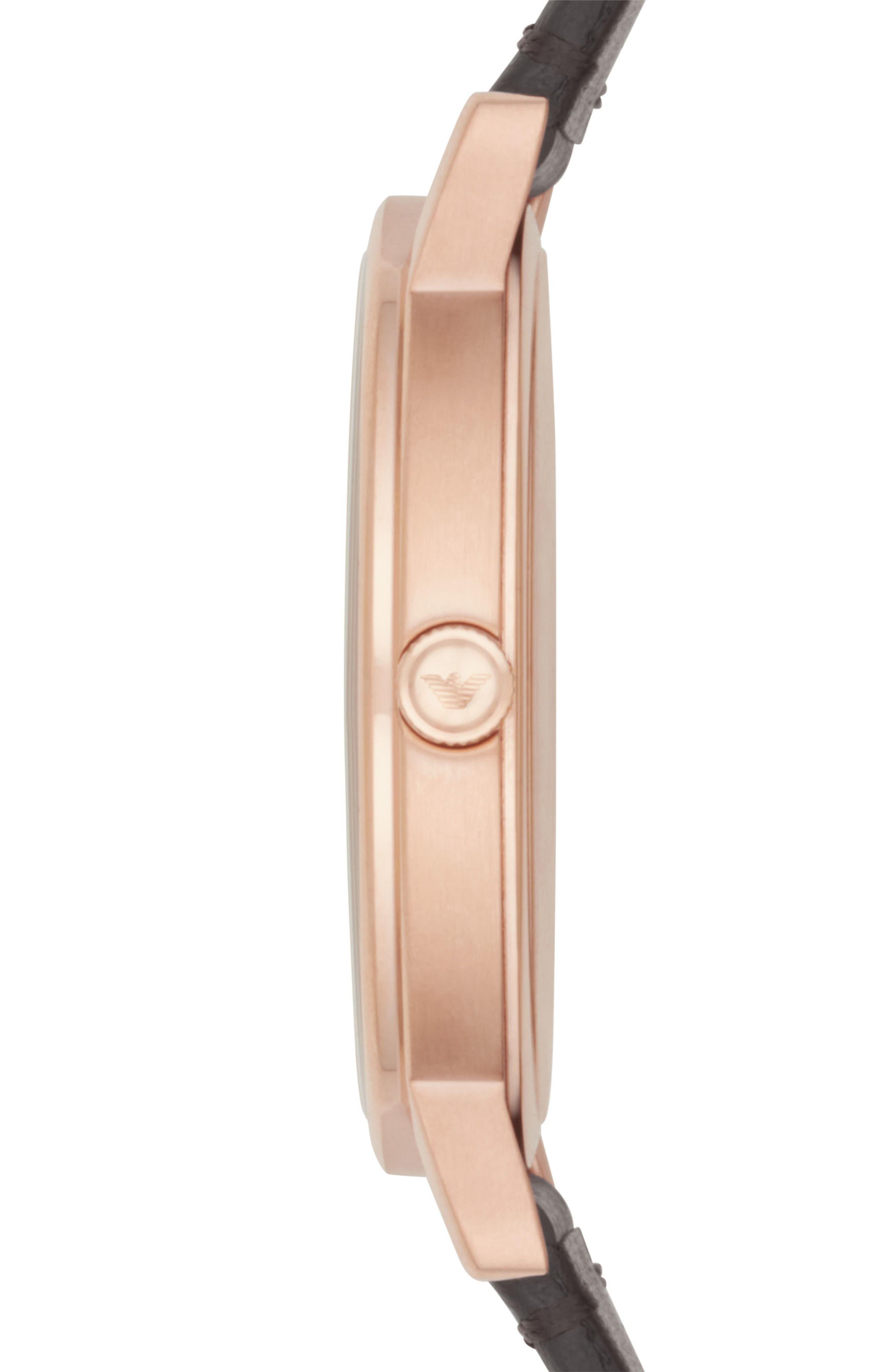Alternate Image 2  - Emporio Armani Leather Strap Watch, 43mm