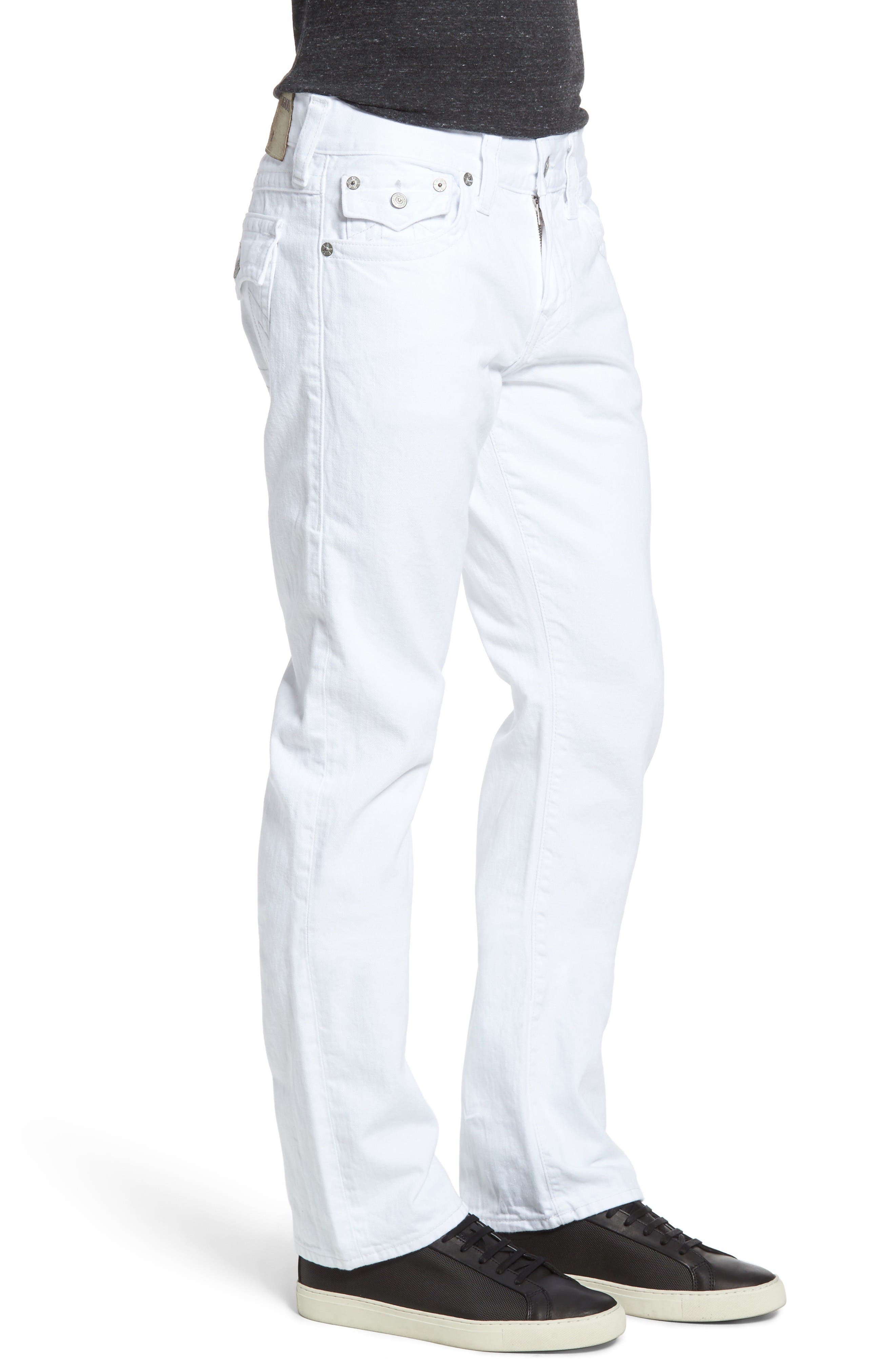 Alternate Image 3  - True Religion Brand Jeans Ricky Relaxed Fit Jeans (Optic White) (Regular & Big)