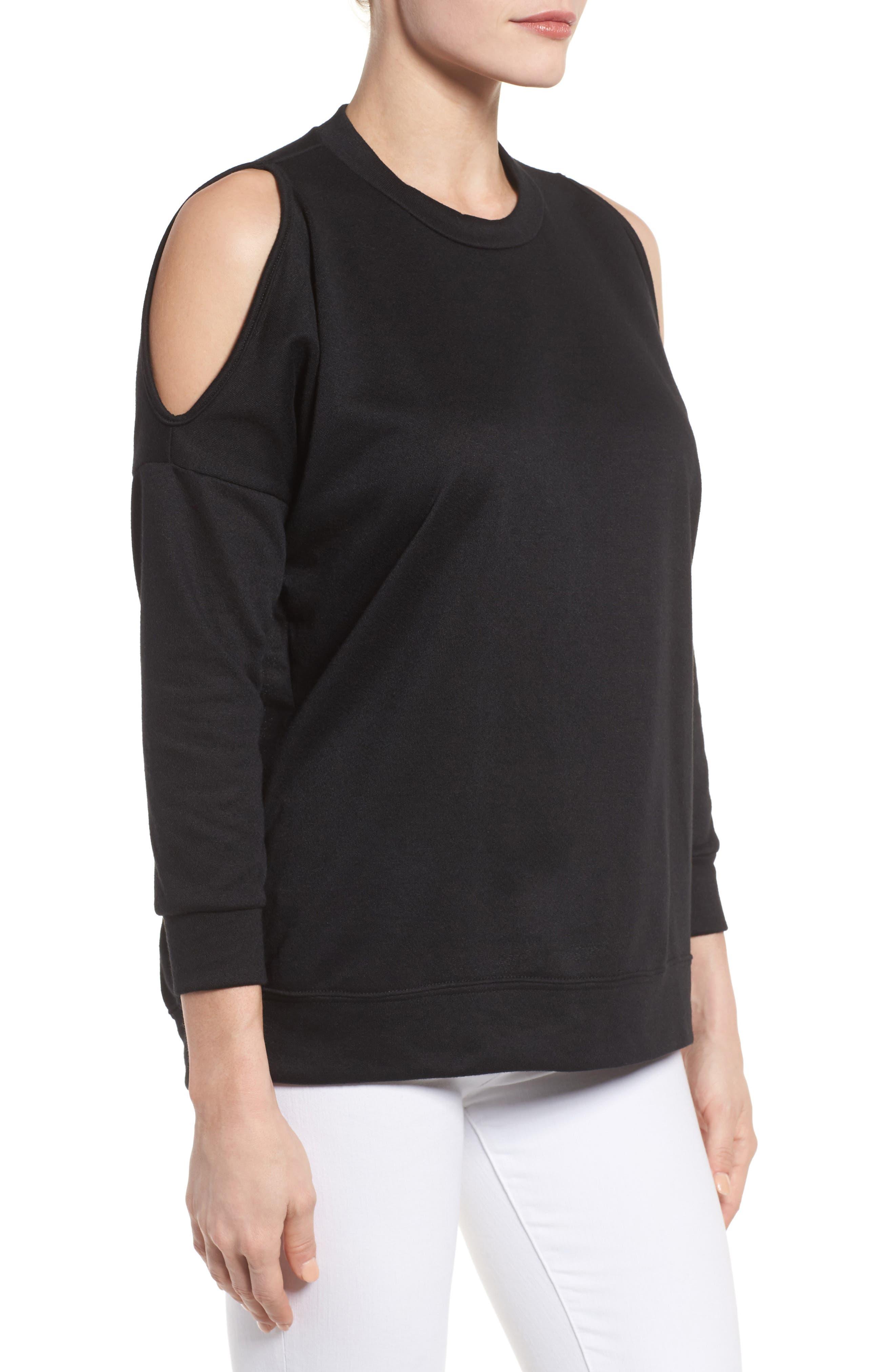 Alternate Image 3  - Bobeau Cold Shoulder Sweatshirt