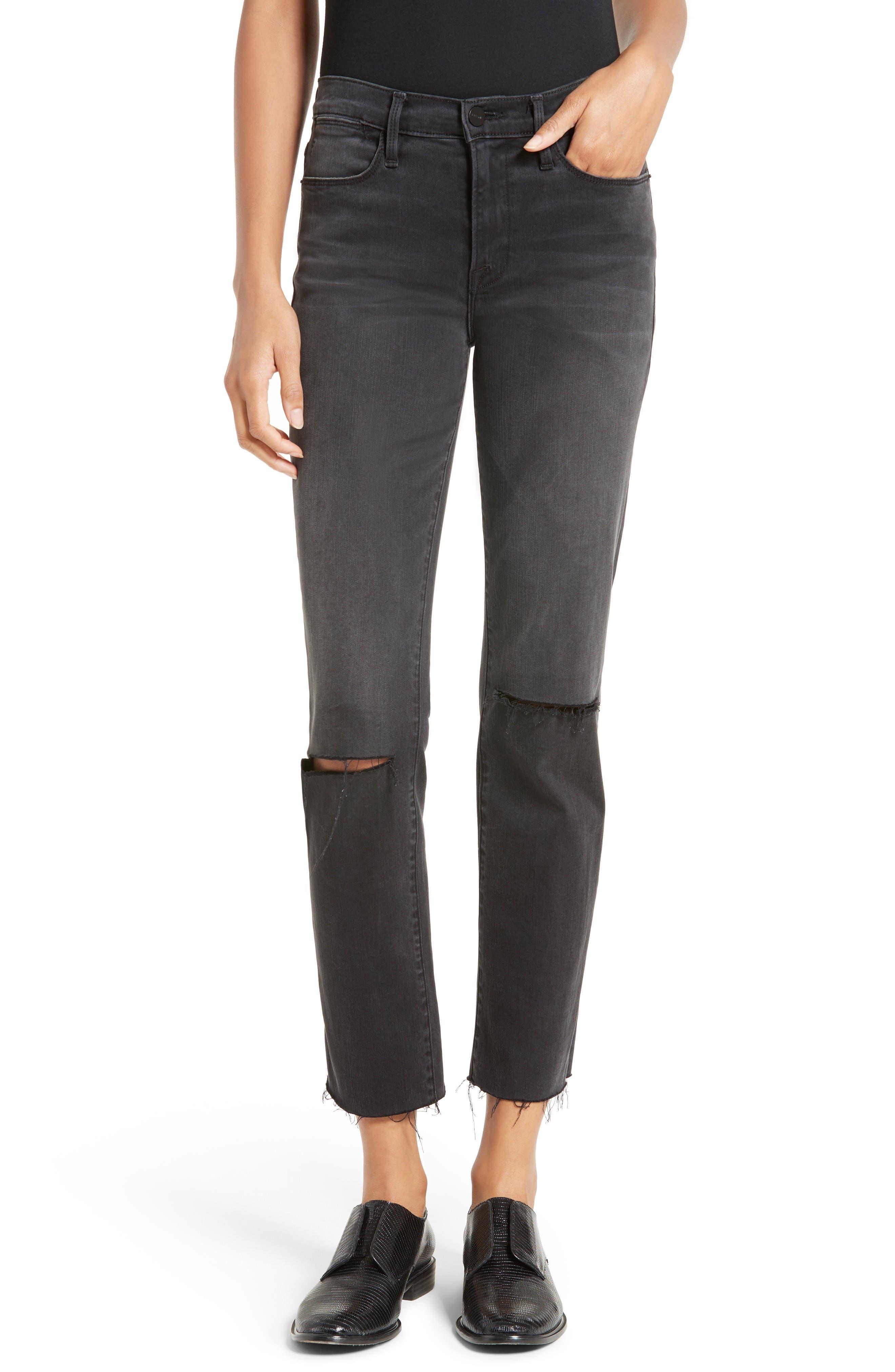 FRAME Le High Raw Edge Straight Leg Jeans
