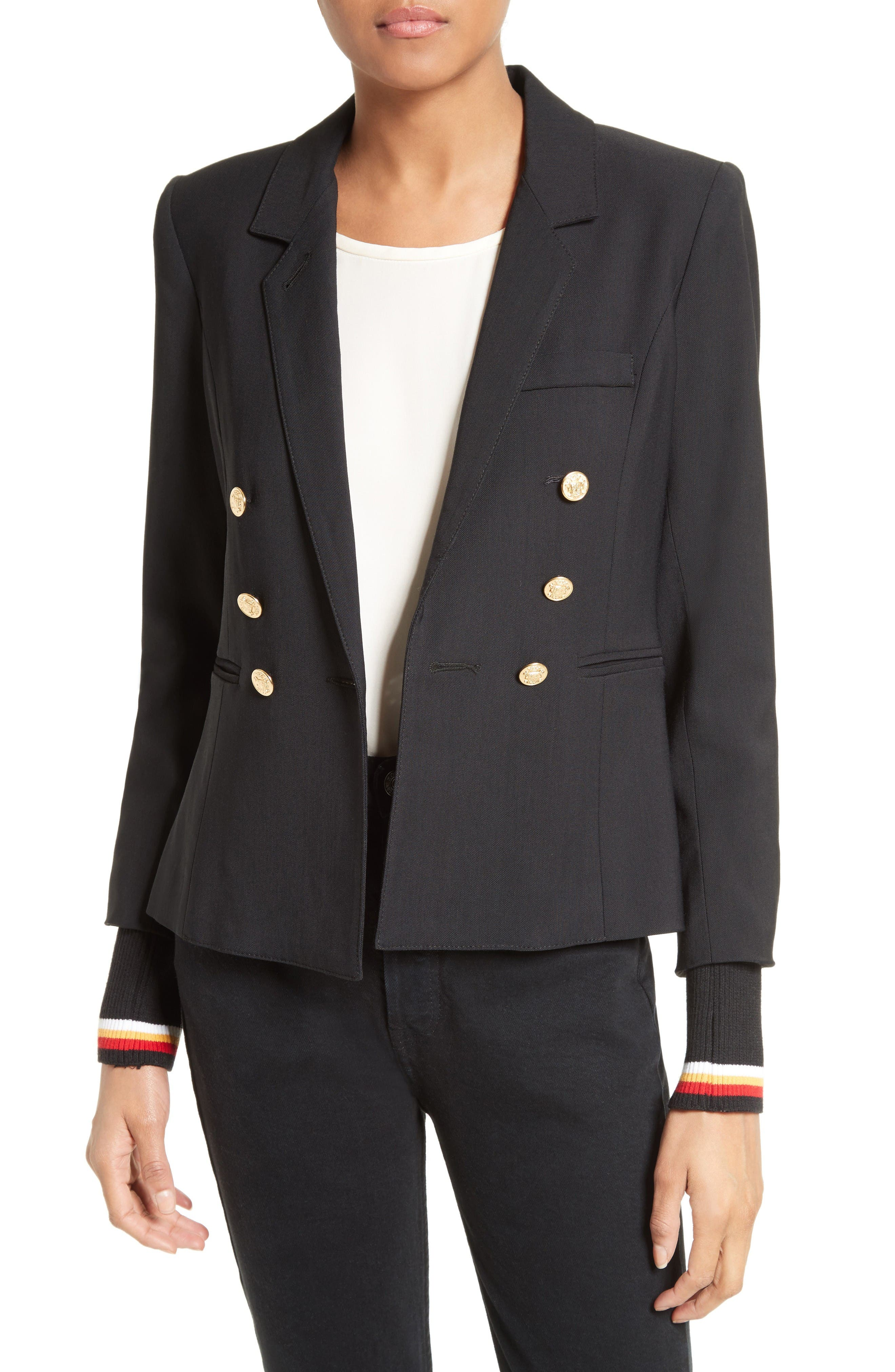 Smythe College Double Breasted Blazer with Detachable Knit Cuffs