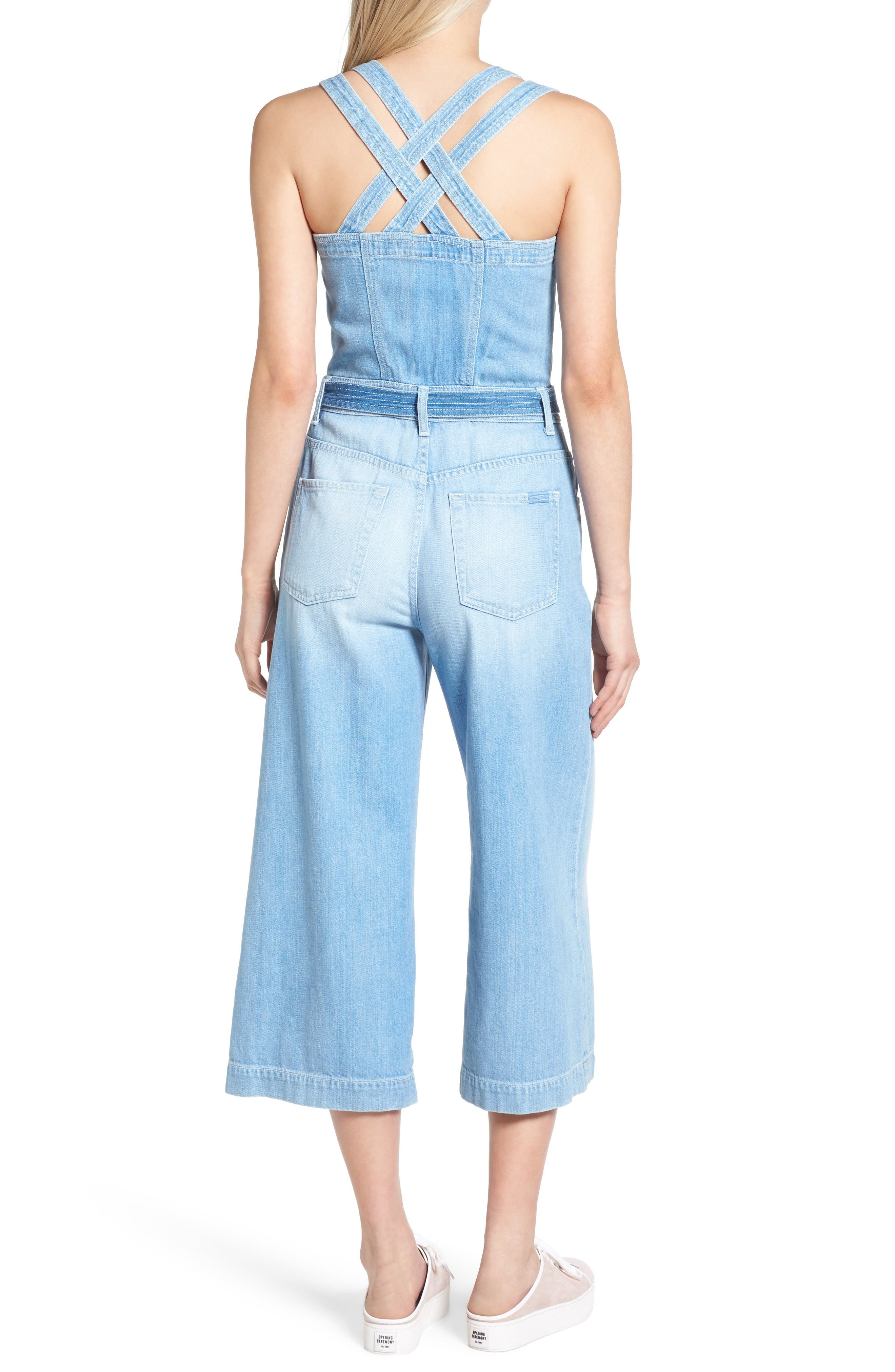 Alternate Image 2  - 7 For All Mankind® Denim Culotte Jumpsuit (Luxe Lounge Coastal Blue)