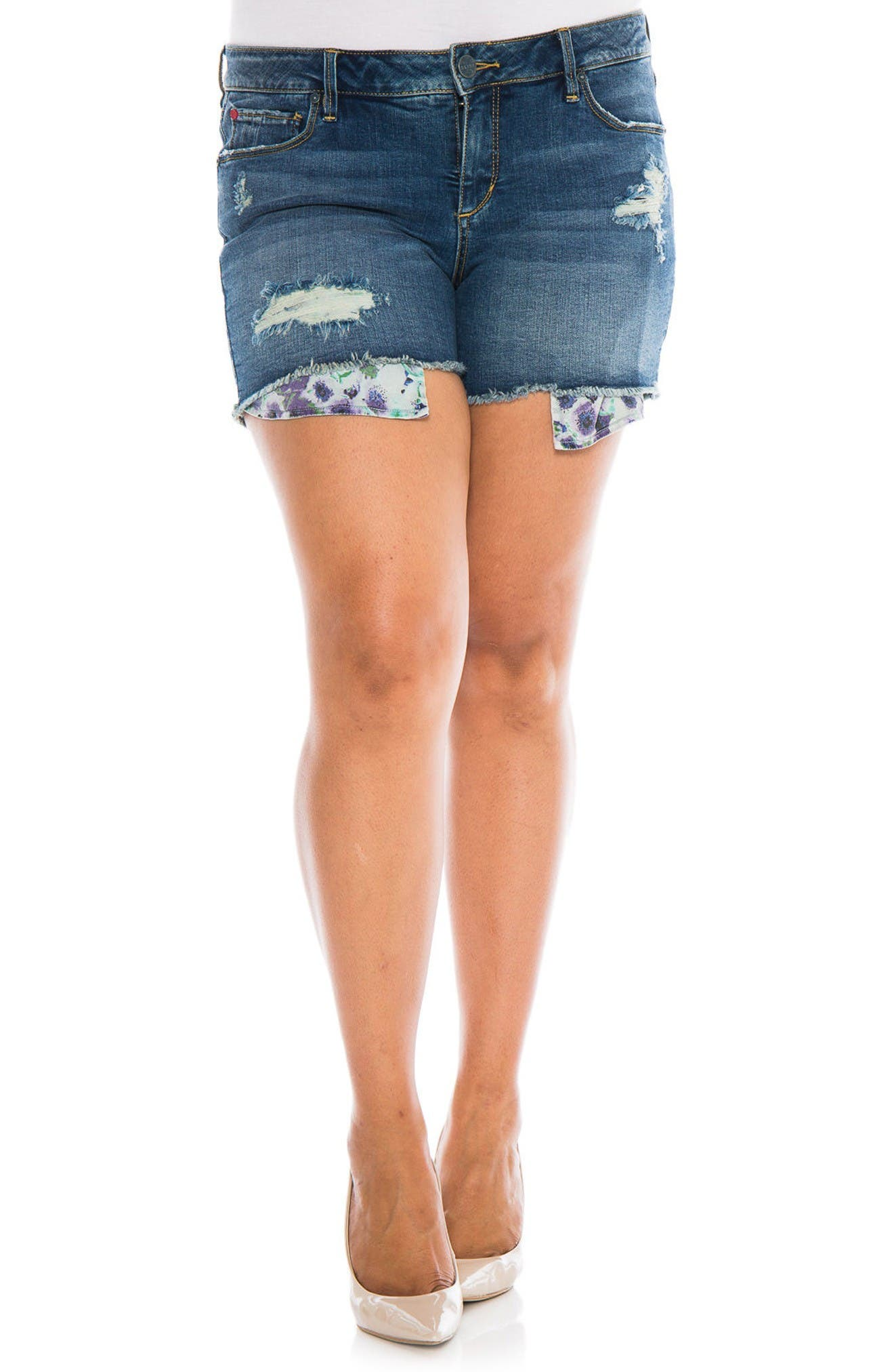 SLINK Jeans Exposed Pocket Denim Shorts (Caralyn) (Plus Size)