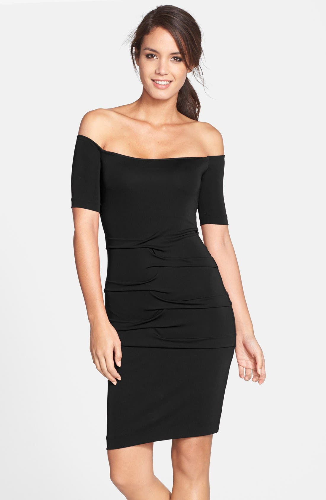 Main Image - Nicole Miller Off the Shoulder Pleat Body-Con Dress