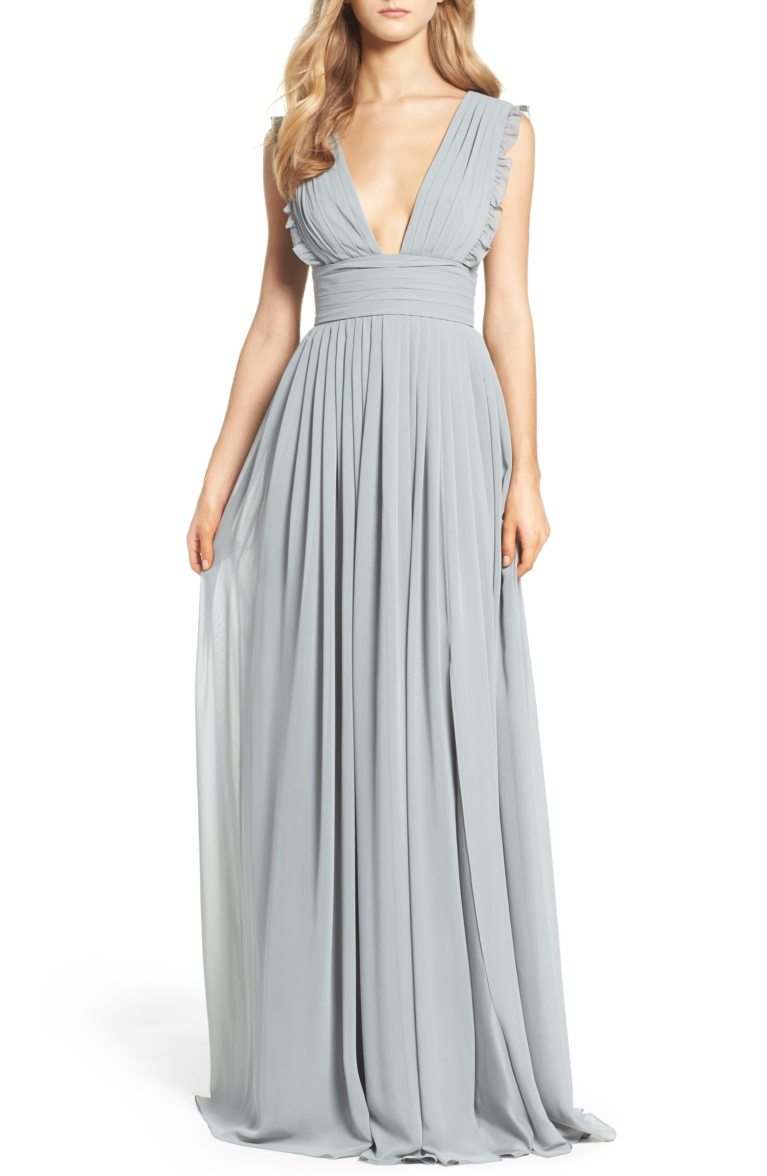 Main Image - Monique Lhuillier Bridesmaids Deep V-Neck Ruffle Pleat Chiffon Gown