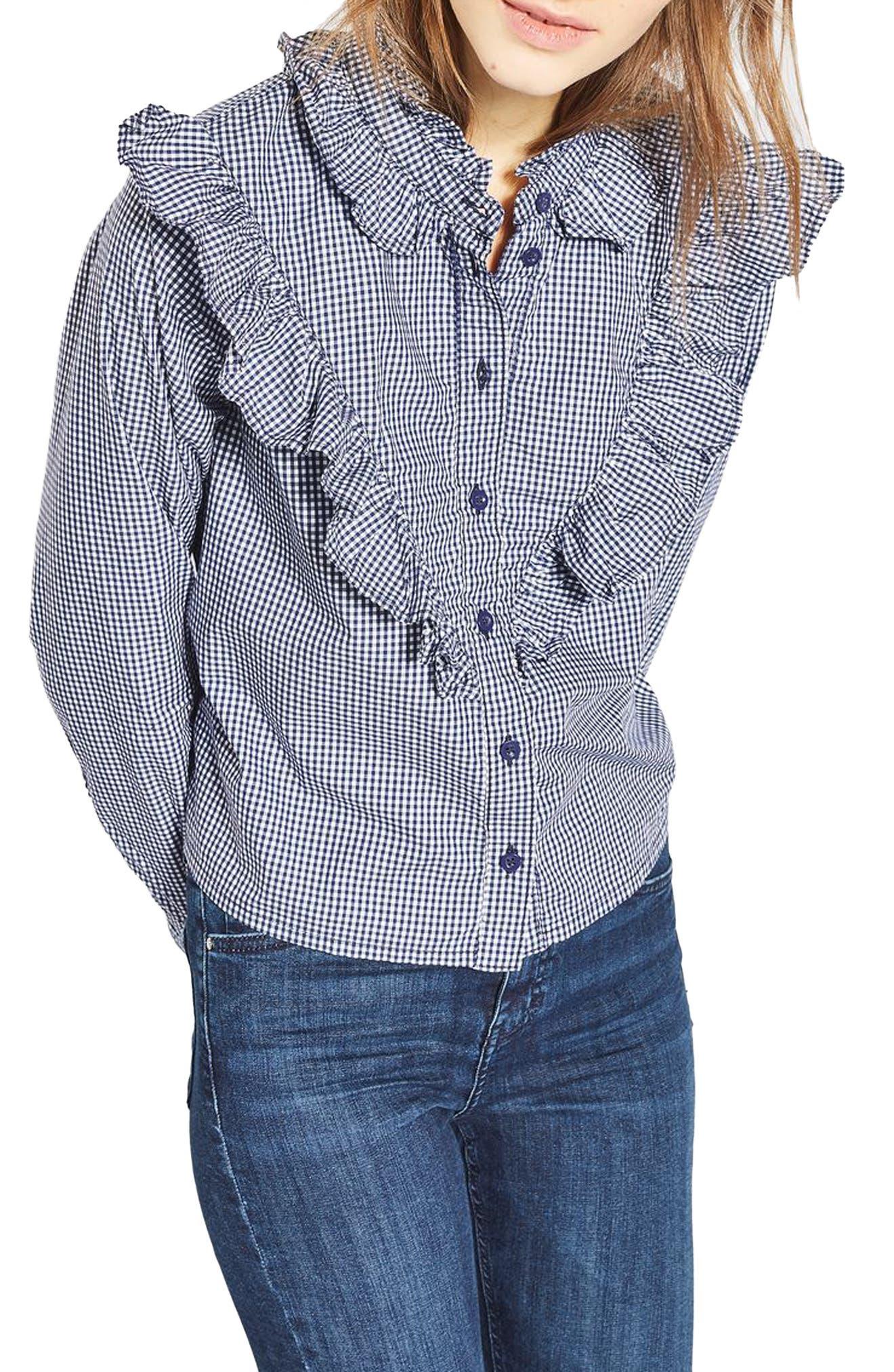 Main Image - Topshop Moto Ruffle Gingham Shirt