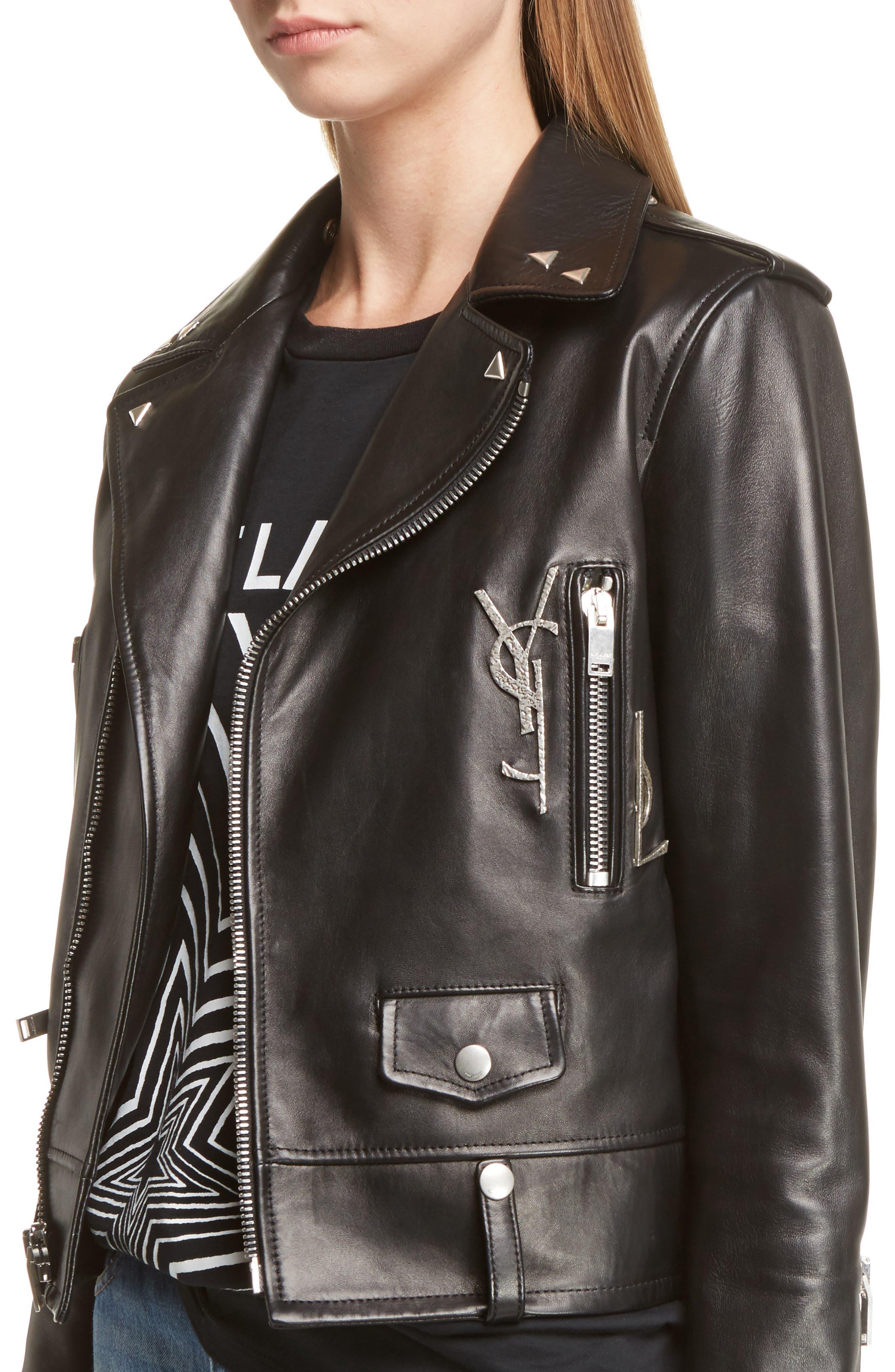 Alternate Image 5  - Saint Laurent YSL Logo Classic Leather Moto Jacket