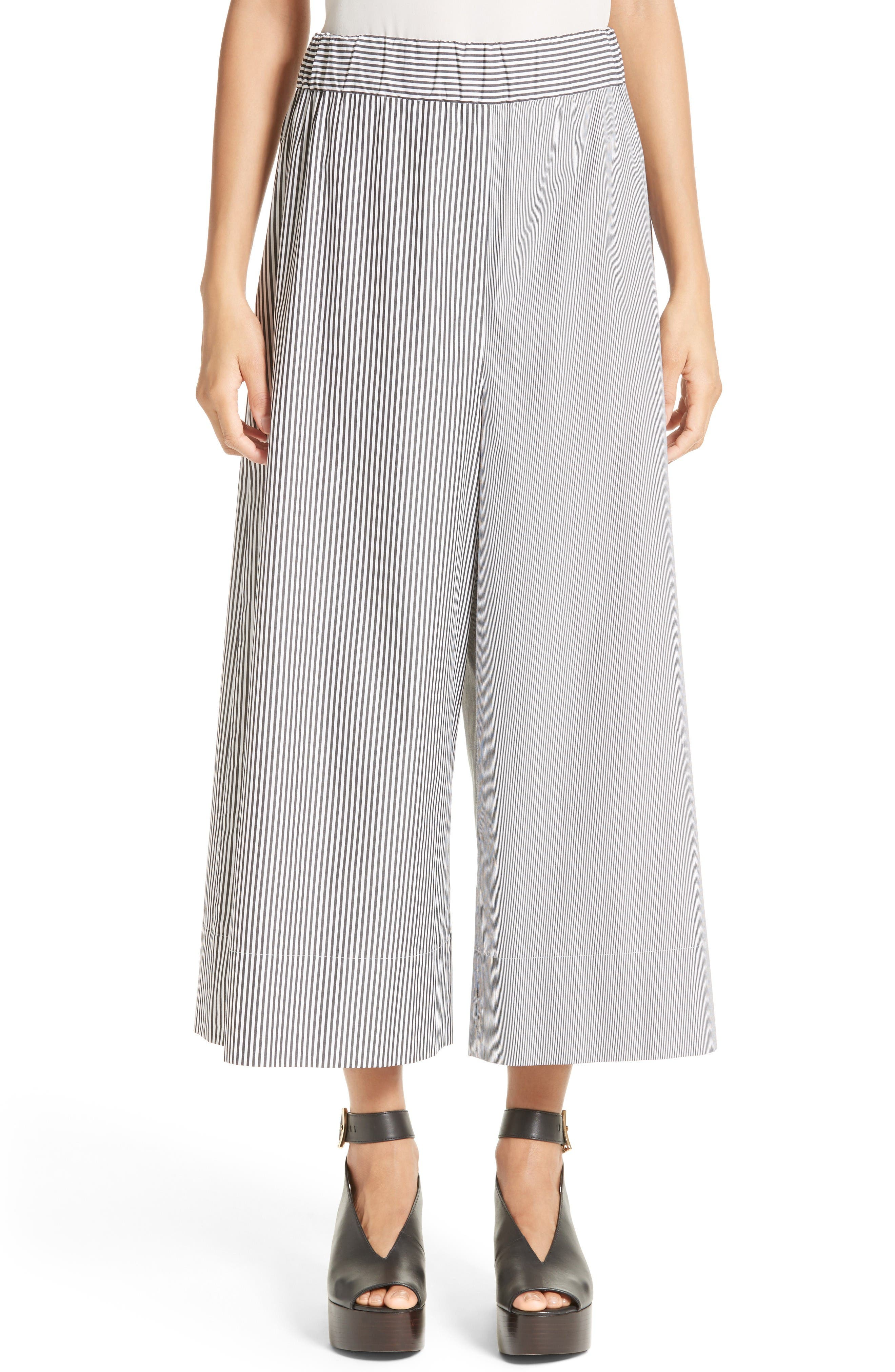Tibi Pull-On Stripe Wide Leg Pants