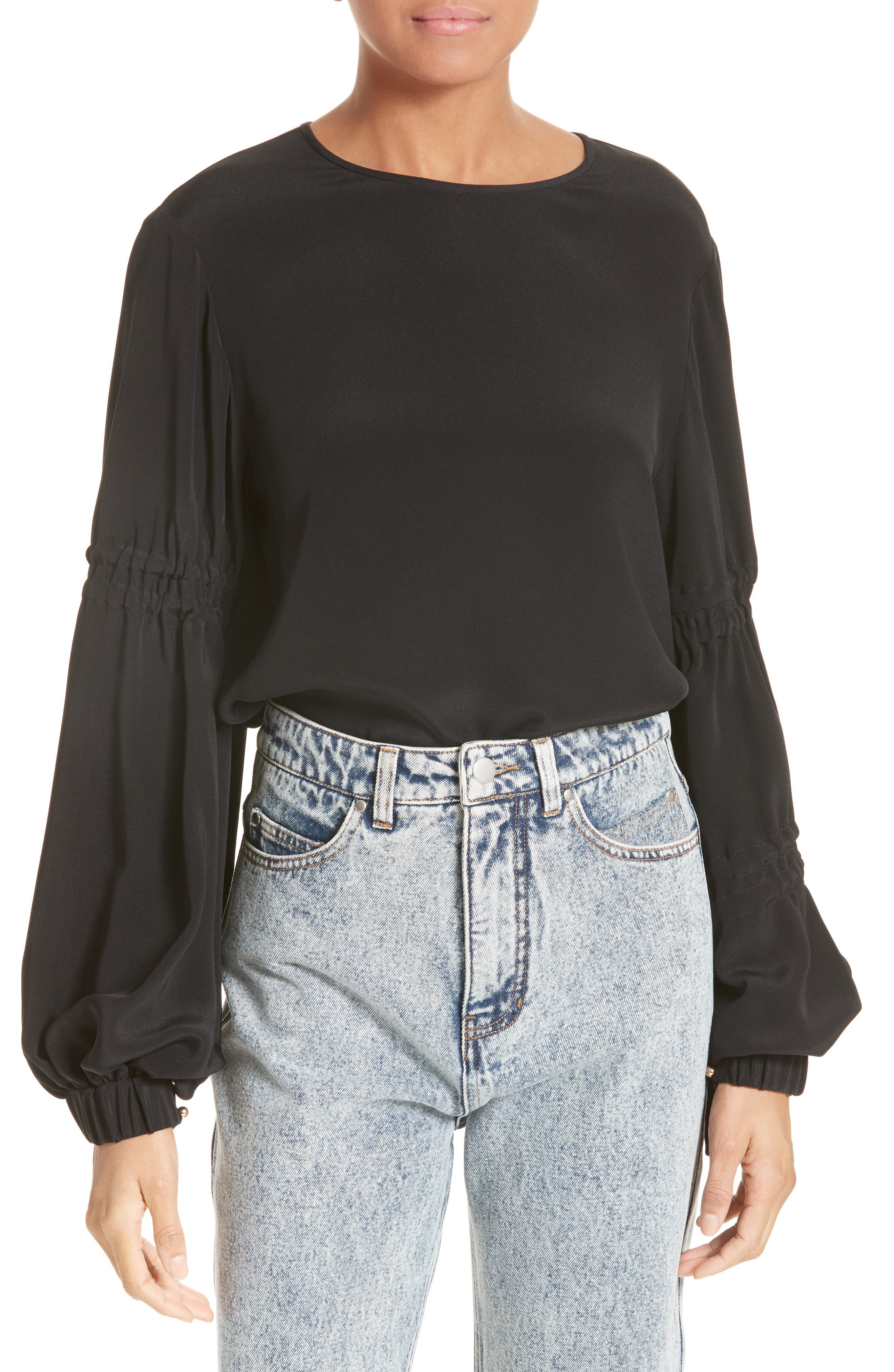 Main Image - Tibi Bishop Sleeve Silk Blouse