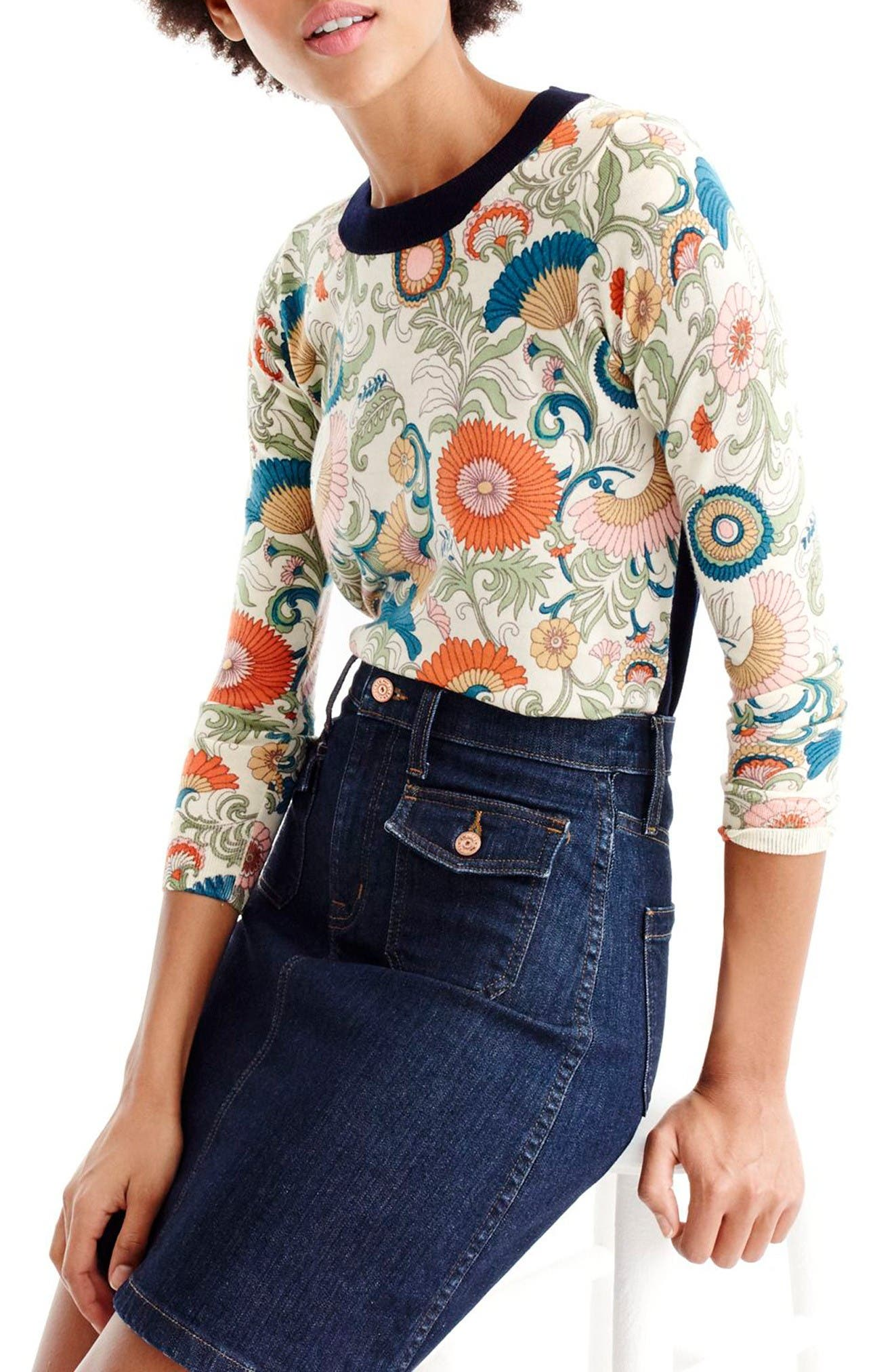 Main Image - J.Crew Tippi Ornate Floral Sweater