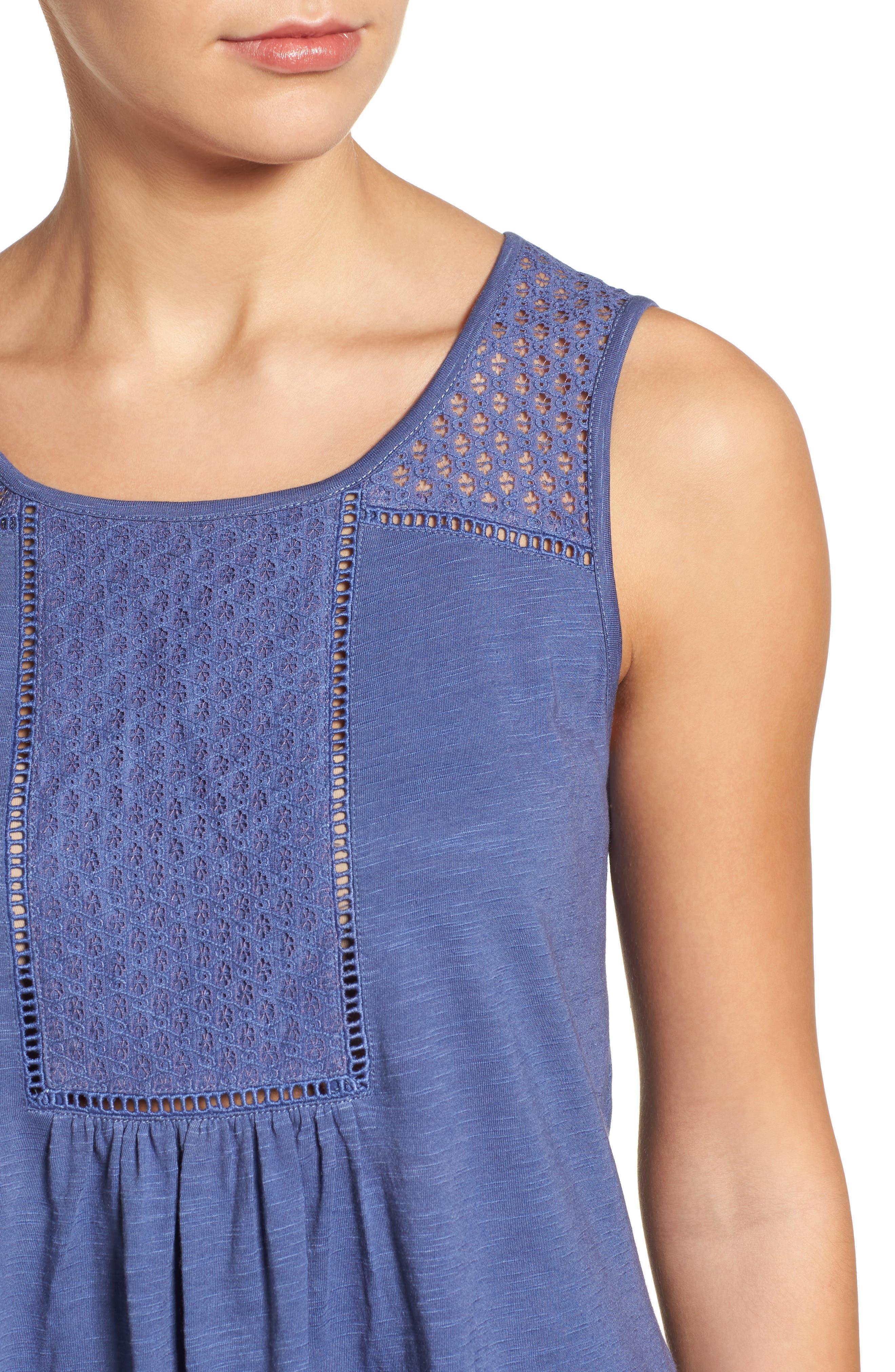 Alternate Image 4  - Caslon® Tassel Trim Embroidered Tank (Regular & Petite)