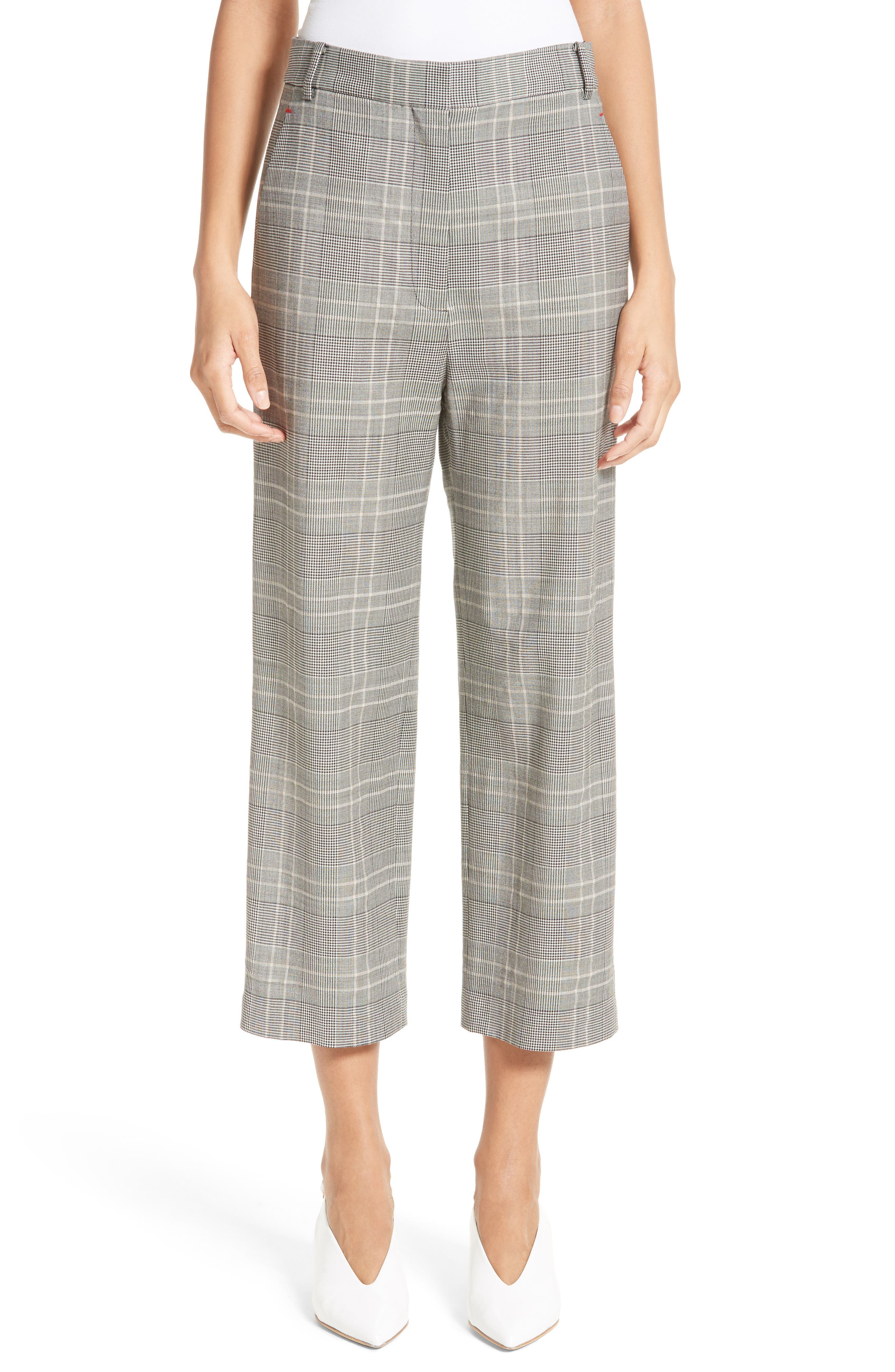 Tibi Plaid High Rise Crop Pants