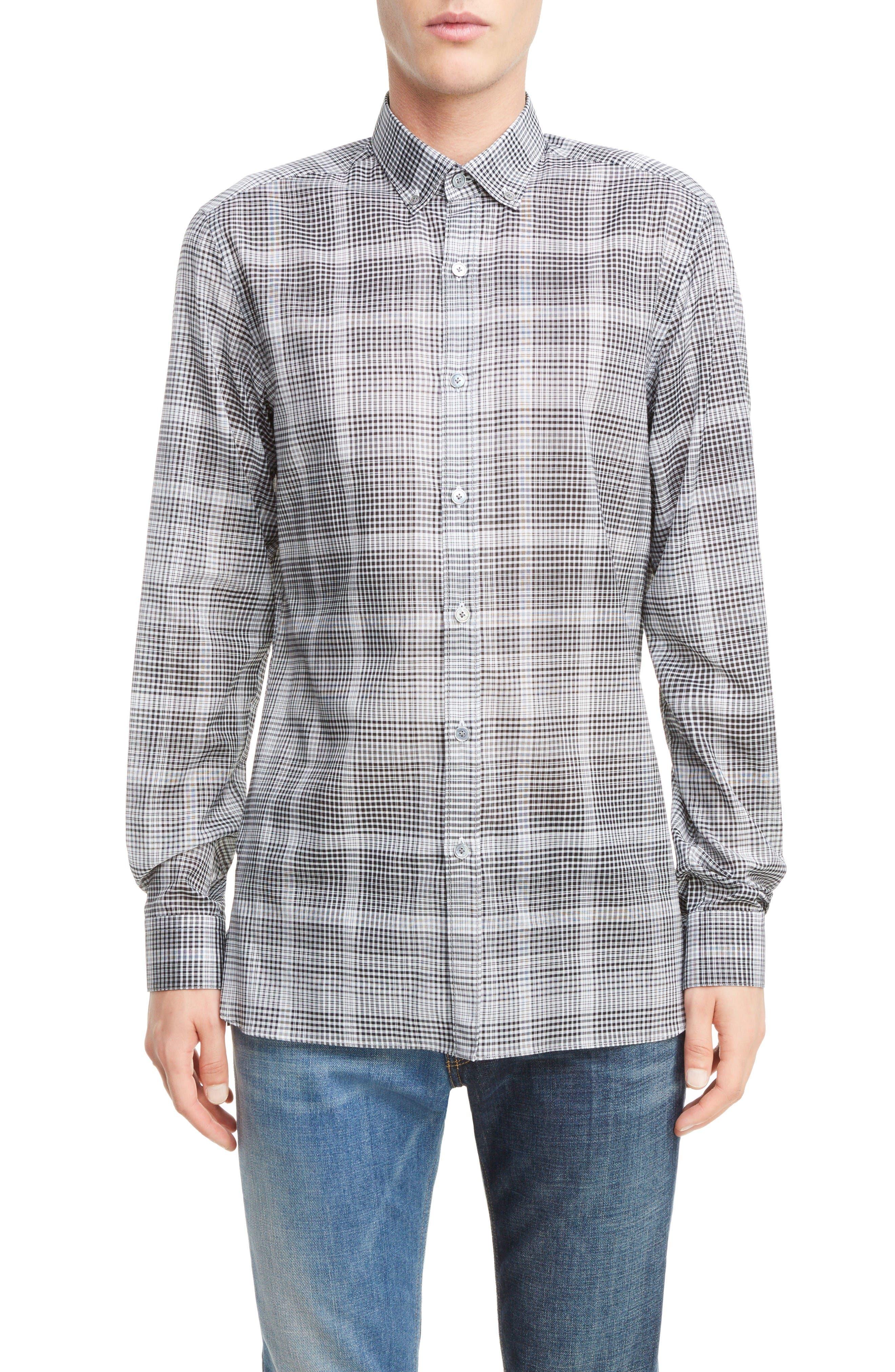 LANVIN Plaid Cotton Sport Shirt