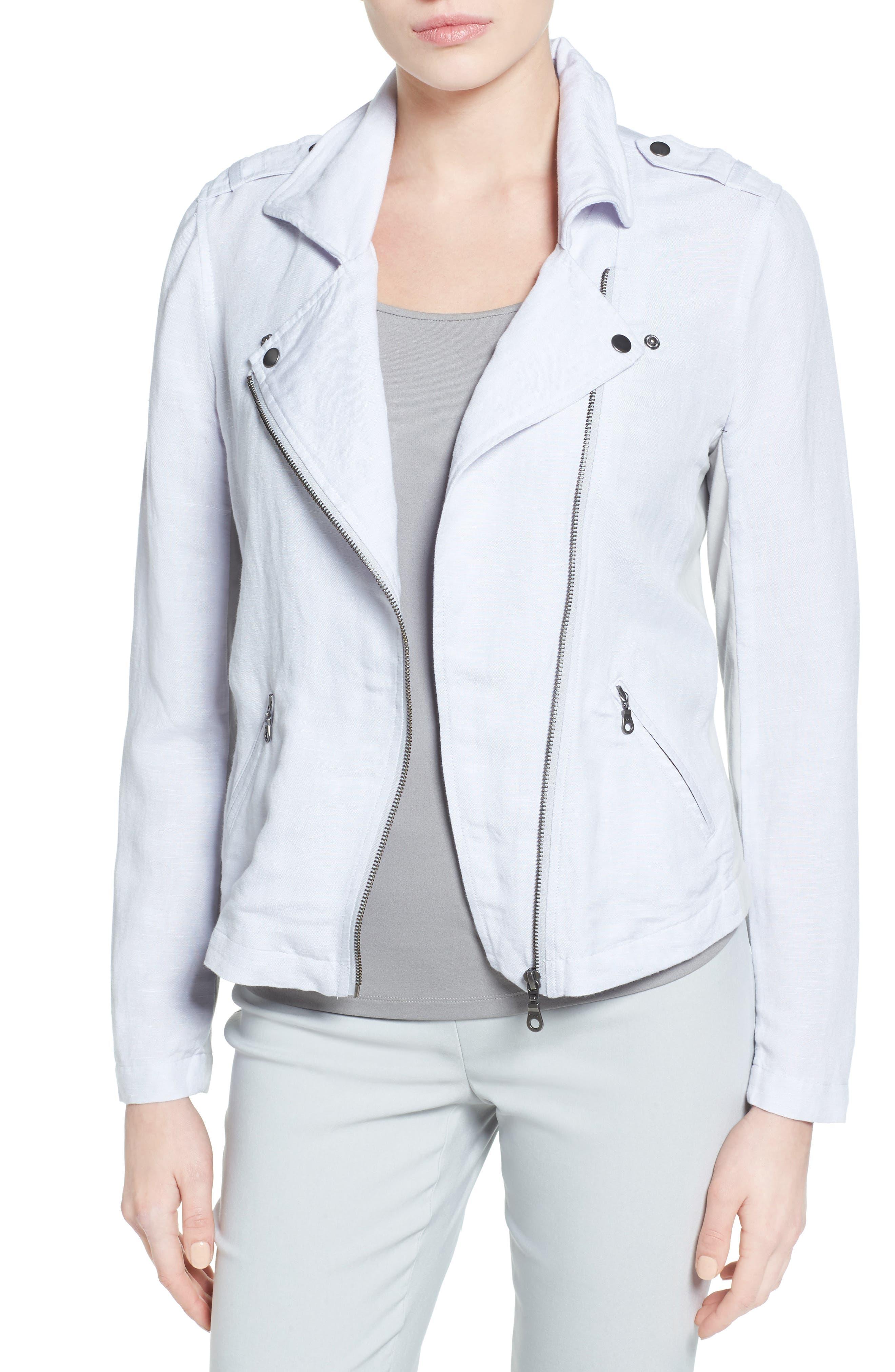 Alternate Image 1 Selected - NIC+ZOE Linen Blend Biker Jacket (Regular & Petite)