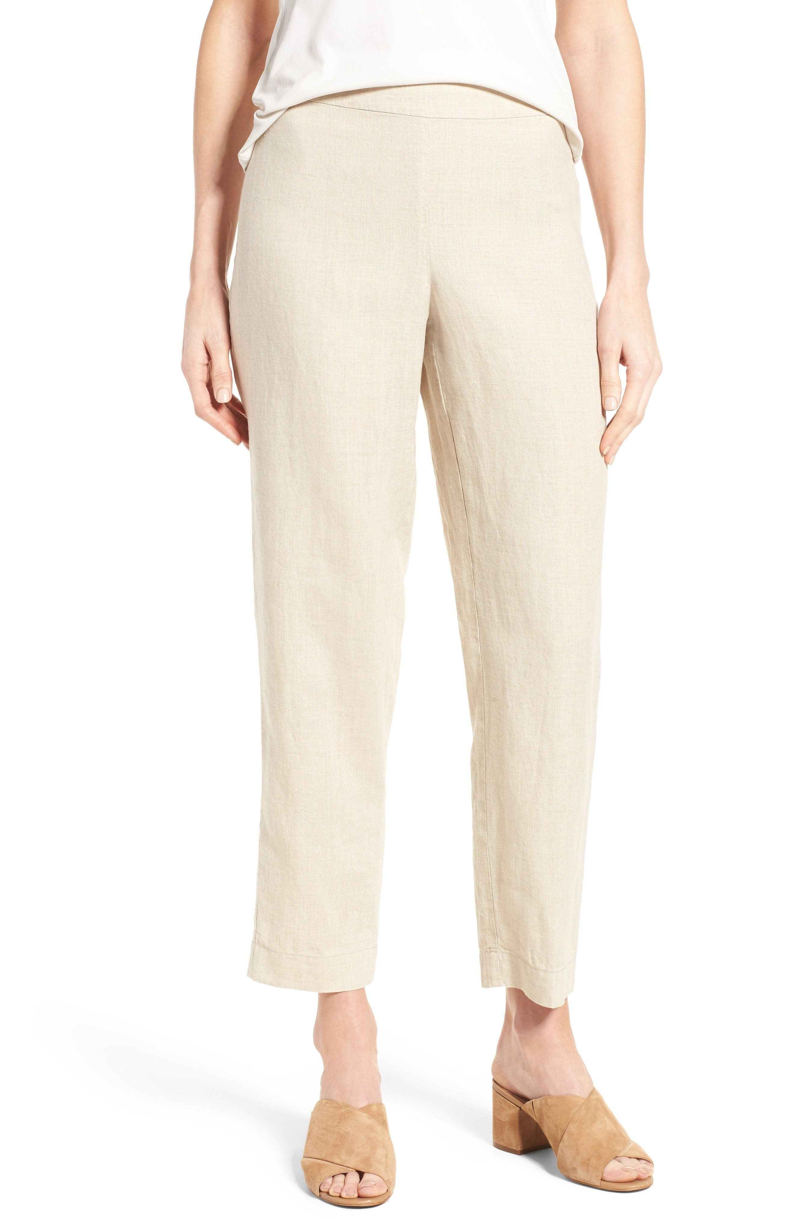 Eileen Fisher Organic Linen Slim Ankle Pants (Regular & Petite)