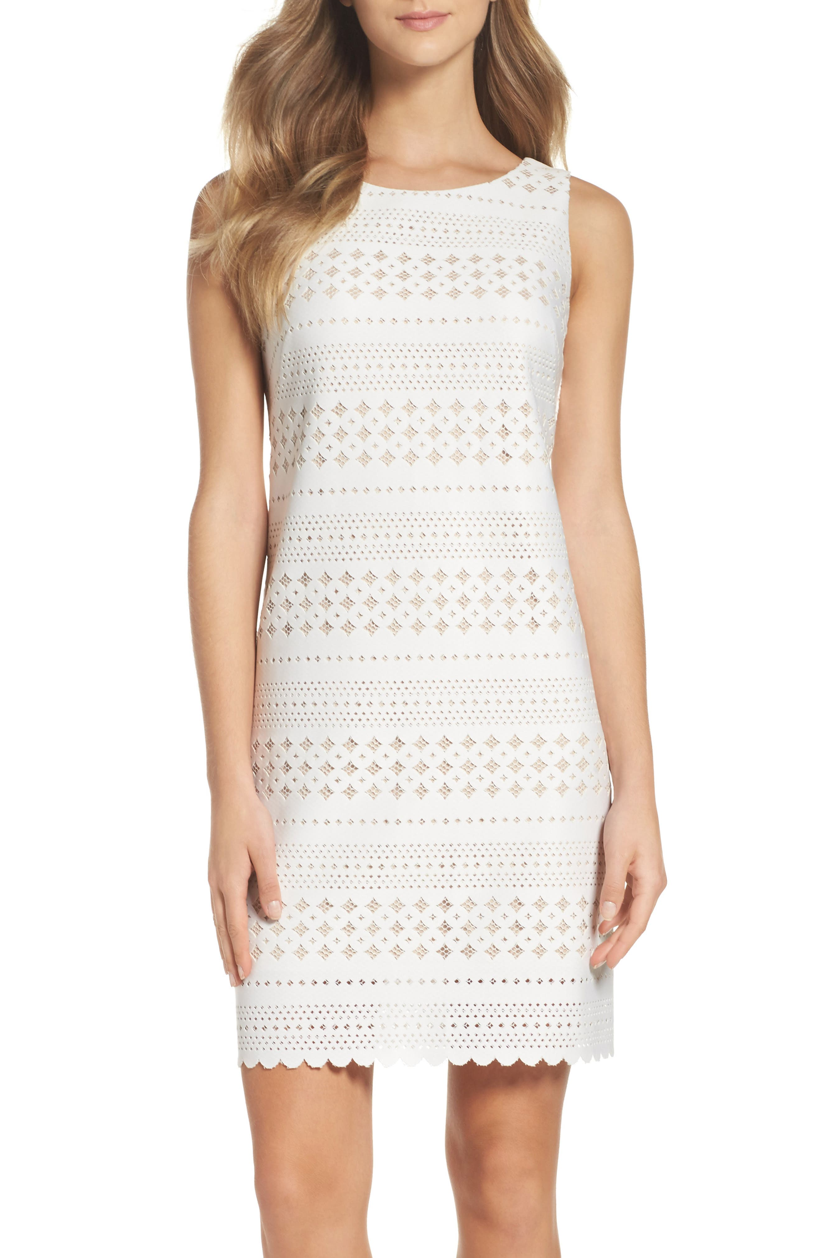 Eliza J Laser Cut Scuba Dress (Regular & Petite)