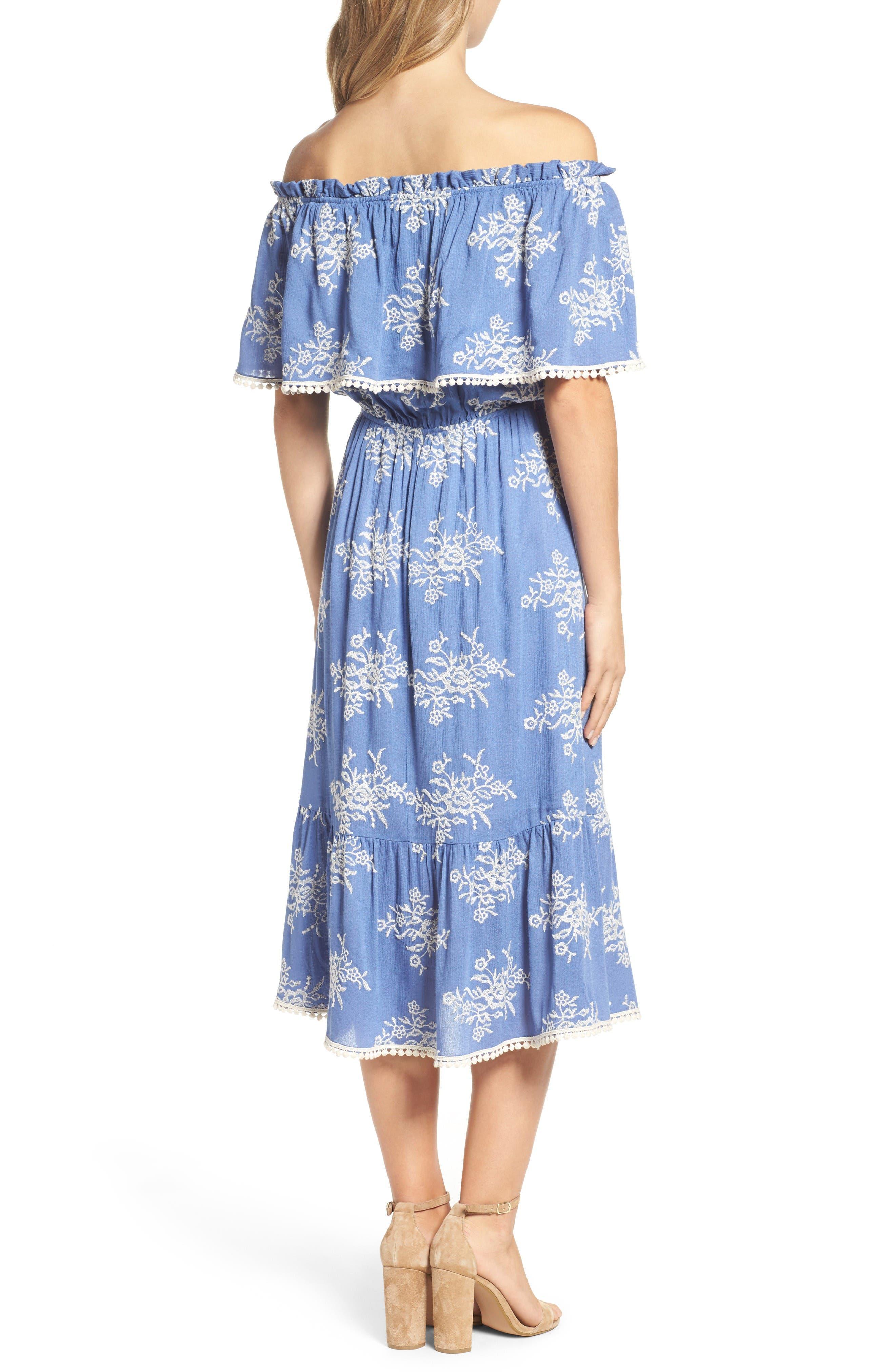 Alternate Image 2  - Fraiche by J Off the Shoulder Midi Dress