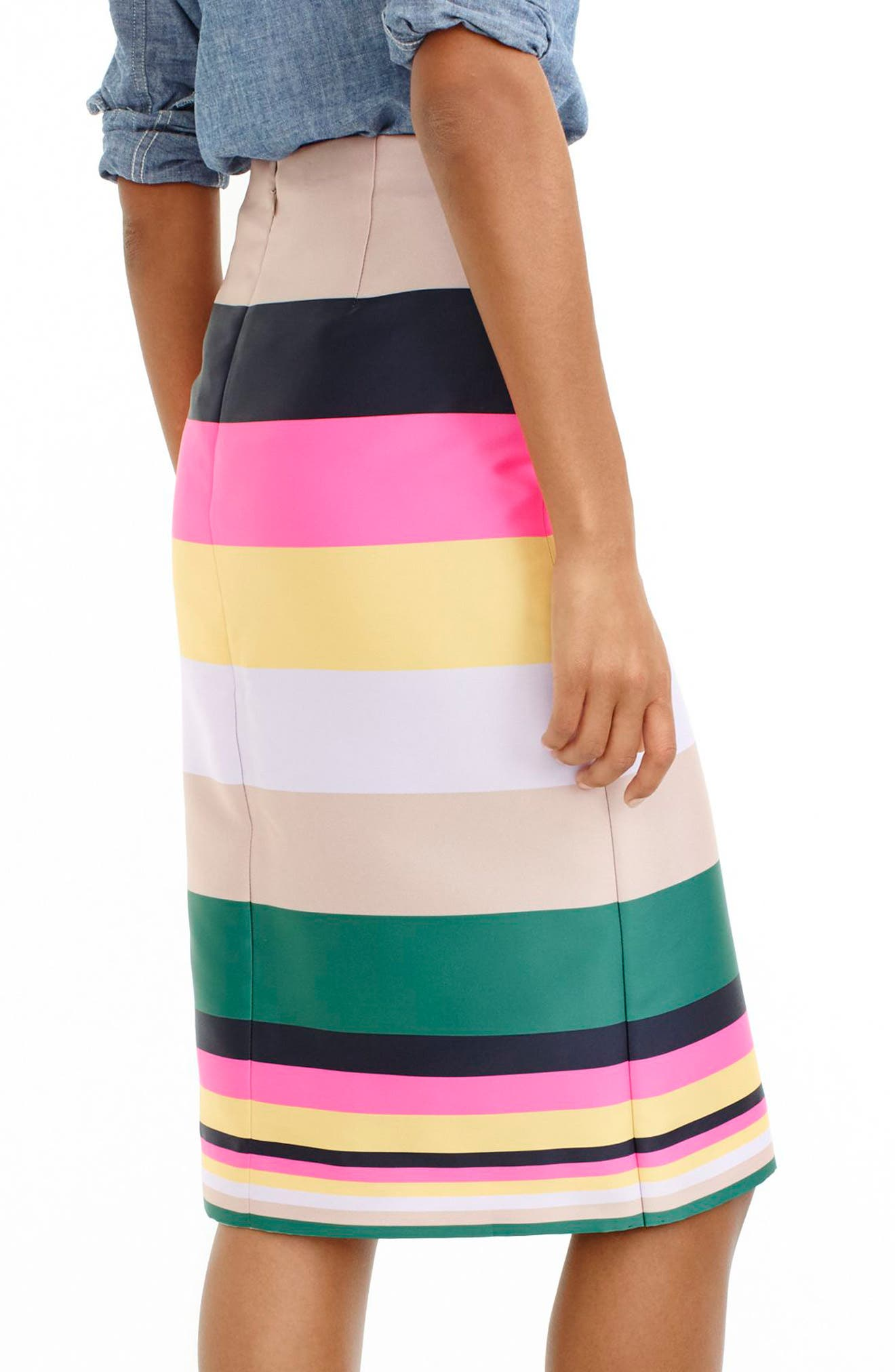 Alternate Image 2  - J.Crew Pop Stripe Skirt (Regular & Petite)