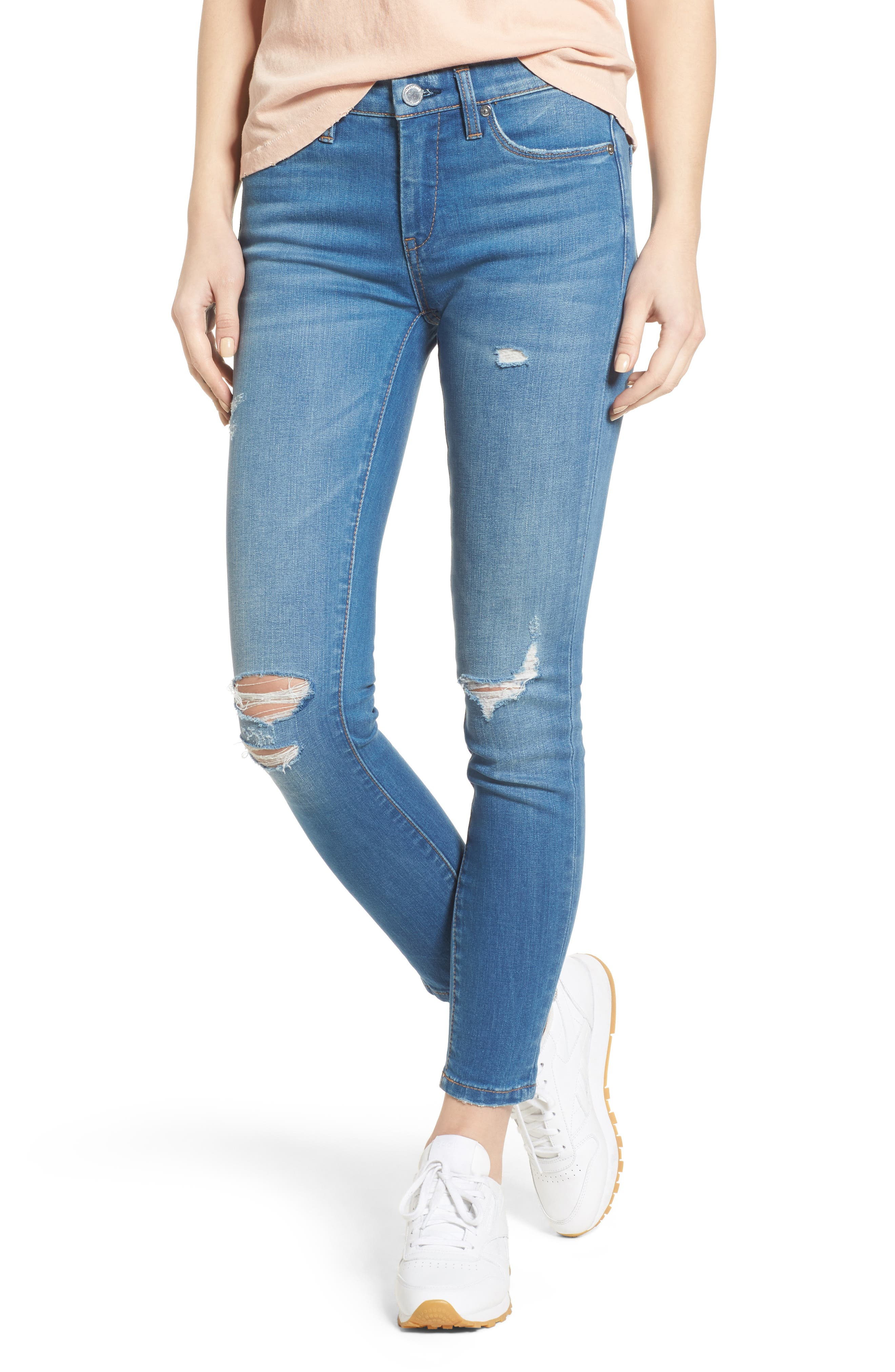 Alternate Image 1 Selected - BLANKNYC Ripped Ankle Skinny Jeans