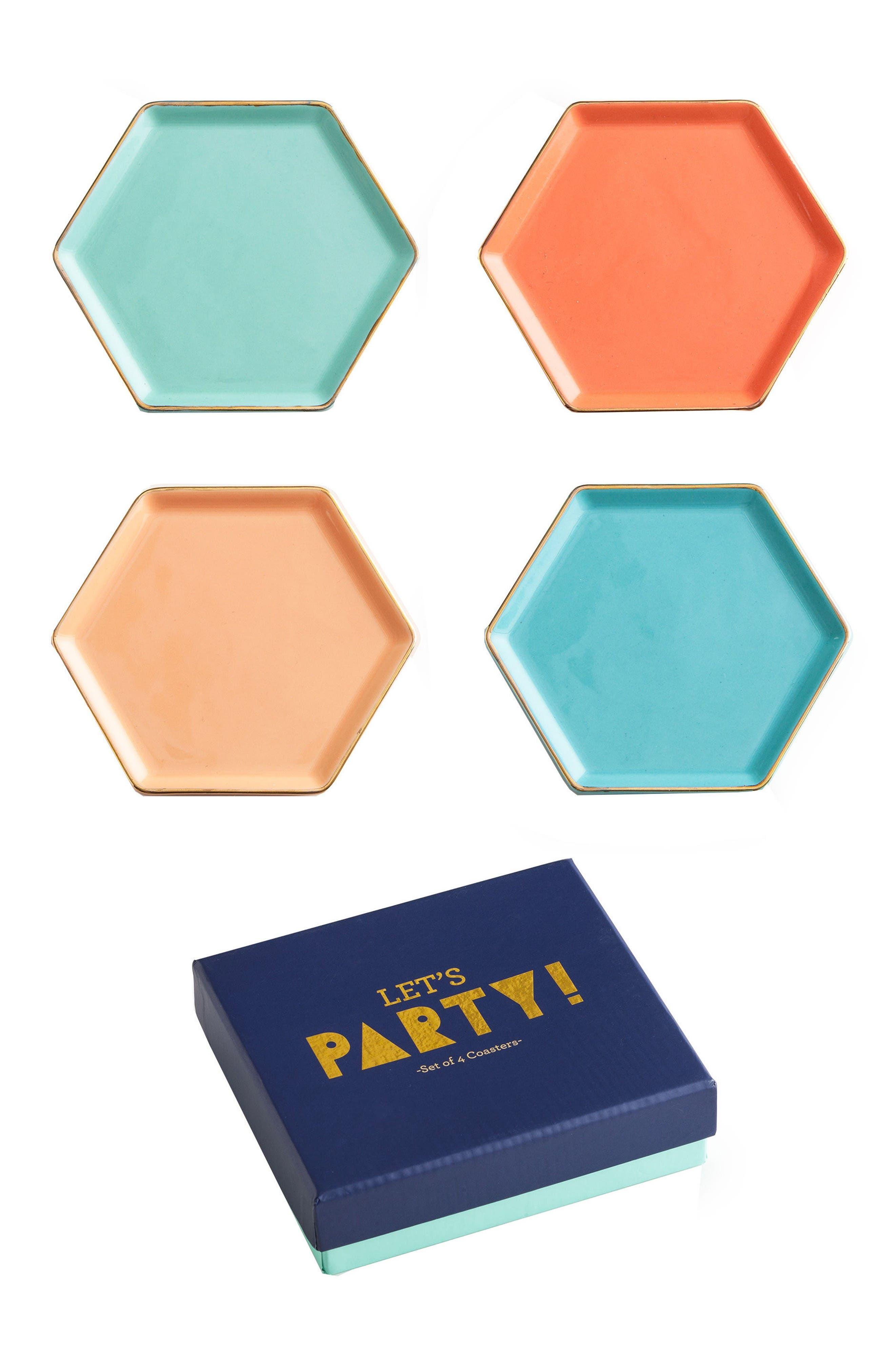 Rosanna Let's Party Set of 4 Hexagonal Coasters