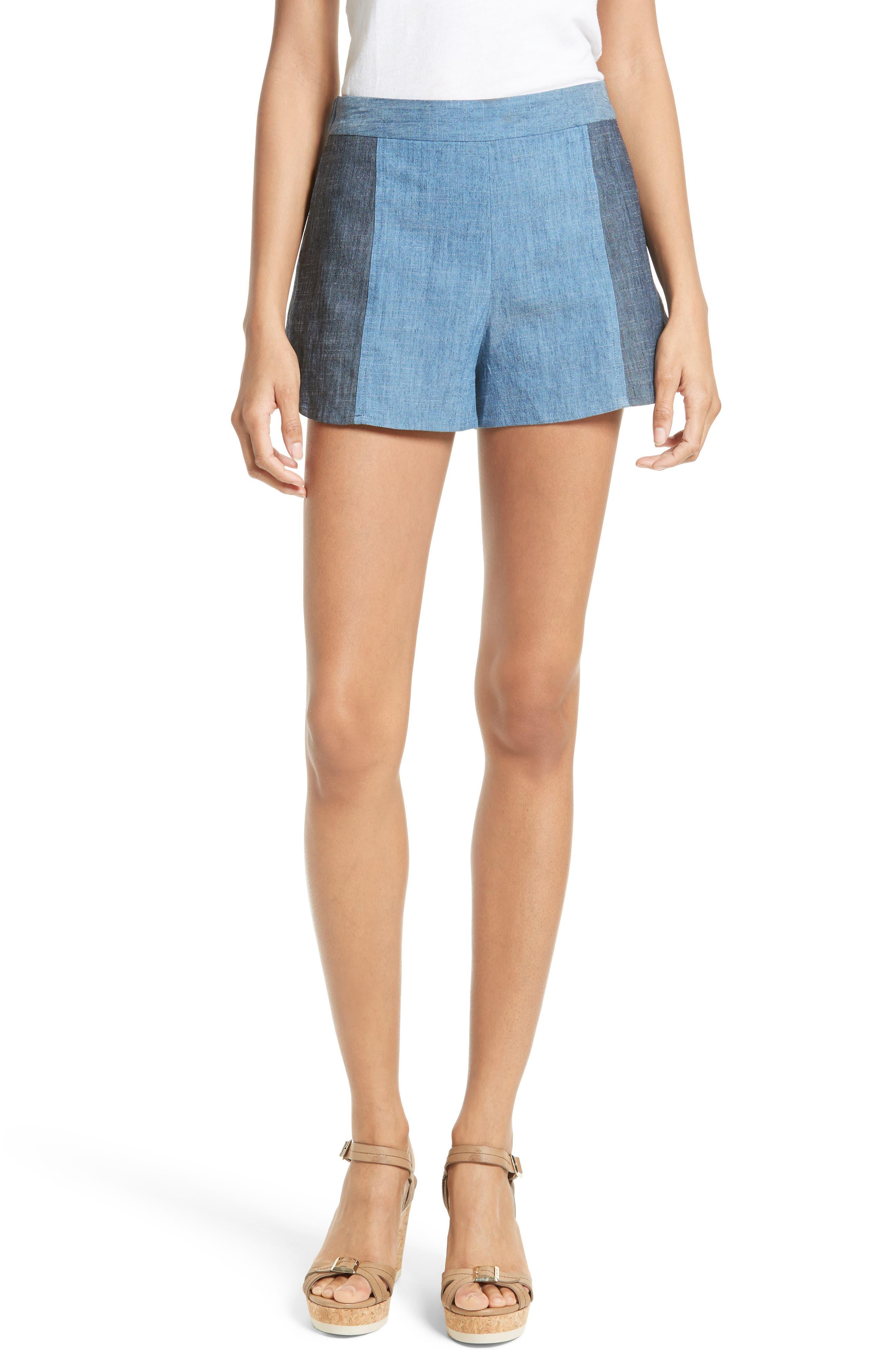 Alice + Olivia Madison Chambray Colorblock Shorts